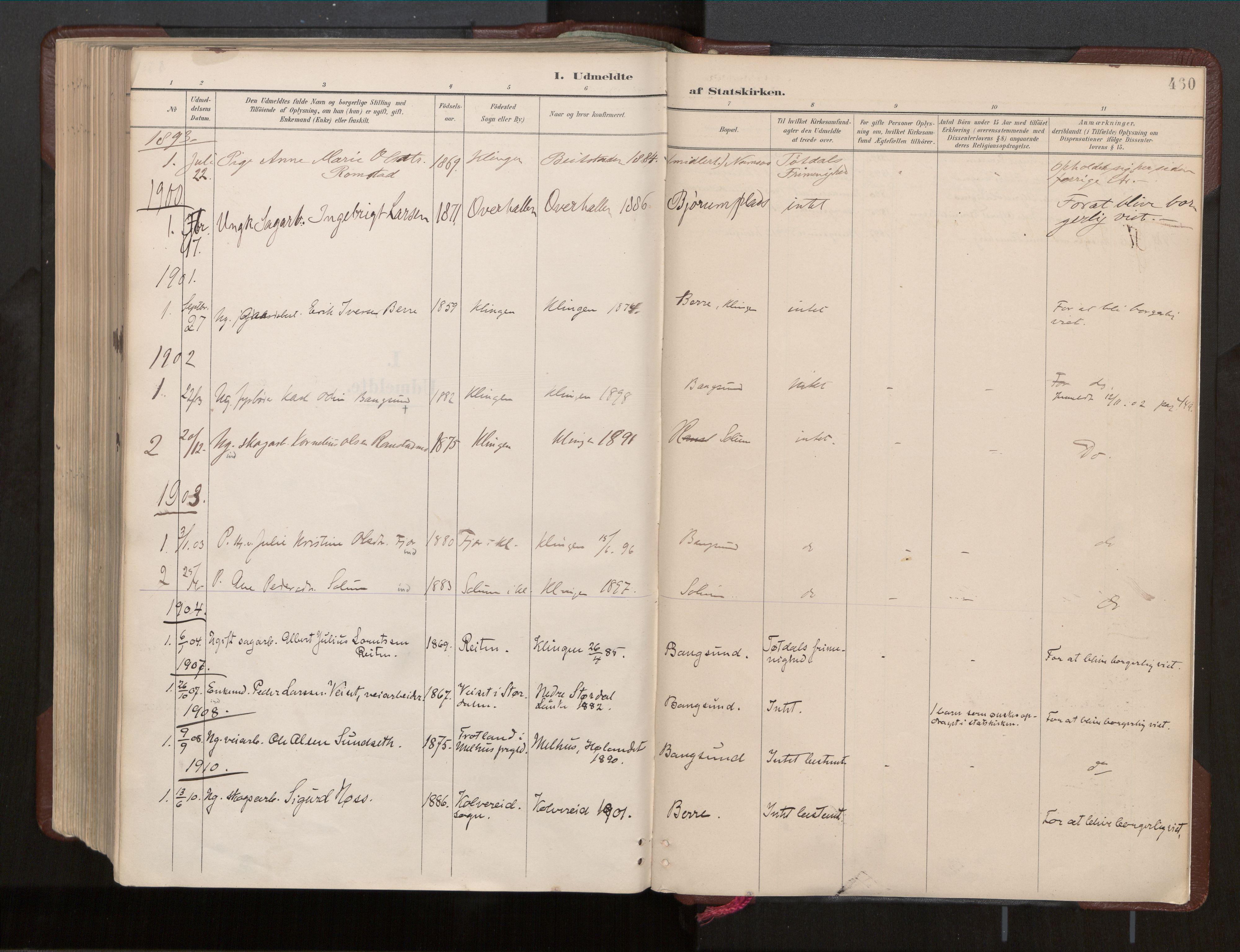 SAT, Ministerialprotokoller, klokkerbøker og fødselsregistre - Nord-Trøndelag, 770/L0589: Ministerialbok nr. 770A03, 1887-1929, s. 460