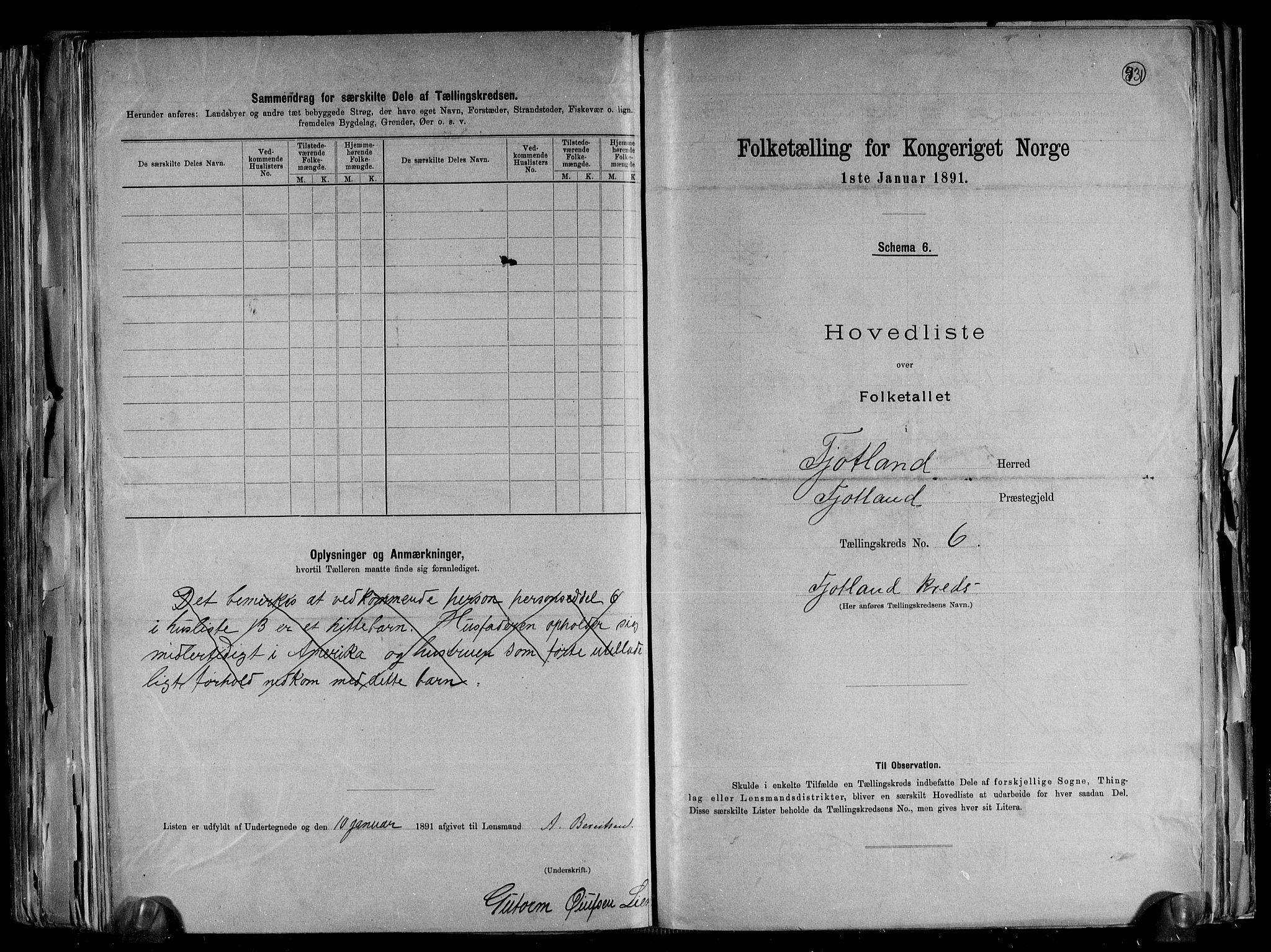 RA, Folketelling 1891 for 1036 Fjotland herred, 1891, s. 15