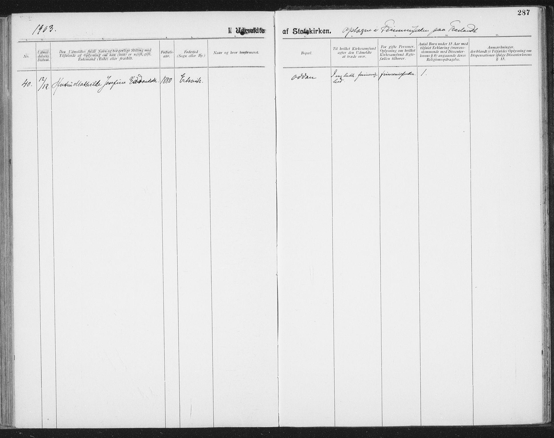 SAT, Ministerialprotokoller, klokkerbøker og fødselsregistre - Nordland, 804/L0081: Ministerialbok nr. 804A02, 1901-1915, s. 287