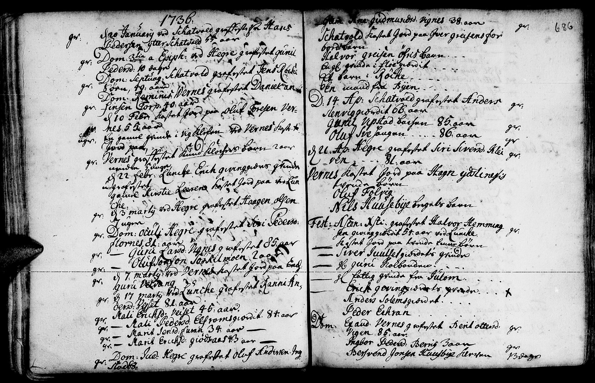SAT, Ministerialprotokoller, klokkerbøker og fødselsregistre - Nord-Trøndelag, 709/L0055: Ministerialbok nr. 709A03, 1730-1739, s. 685-686