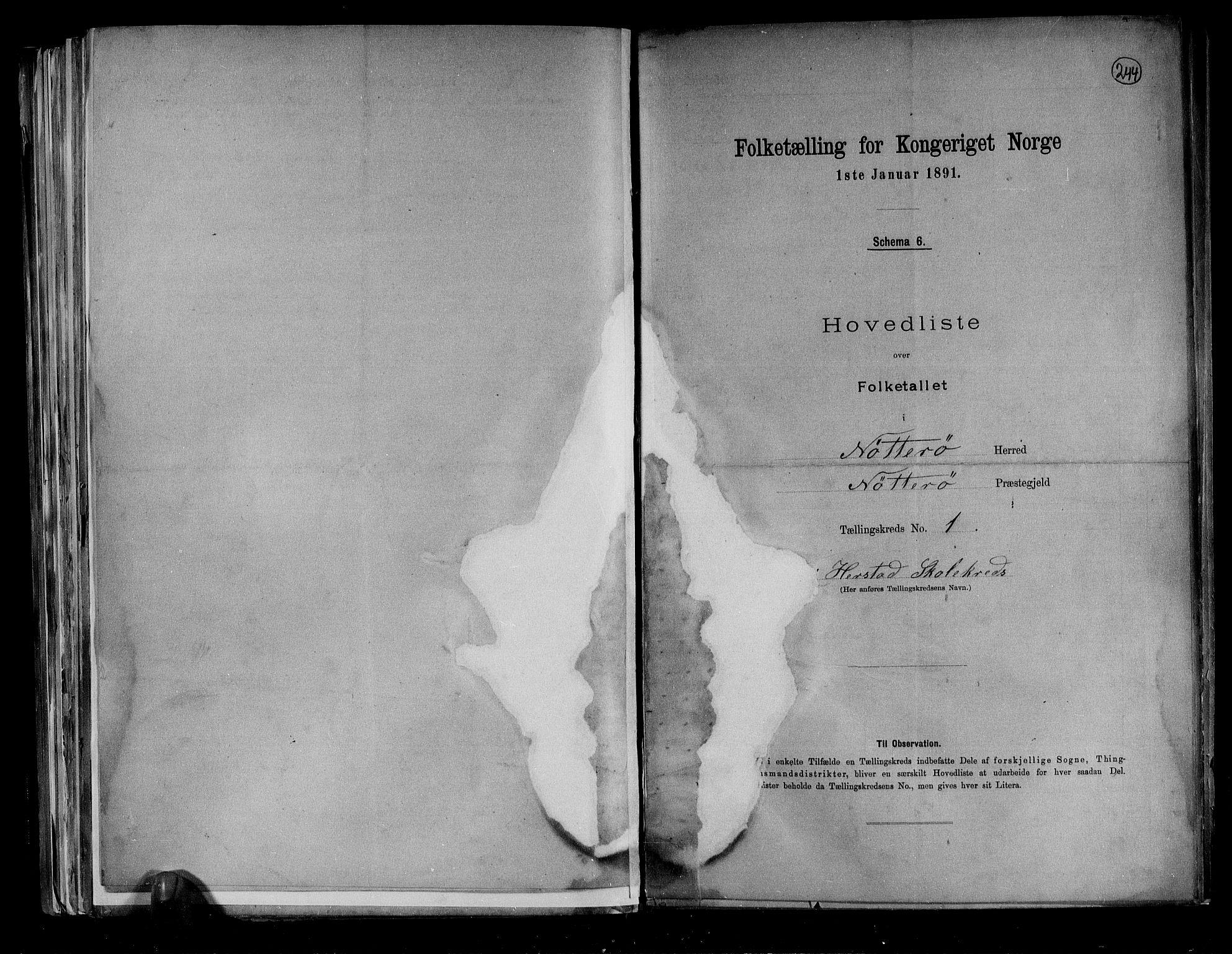 RA, Folketelling 1891 for 0722 Nøtterøy herred, 1891, s. 4