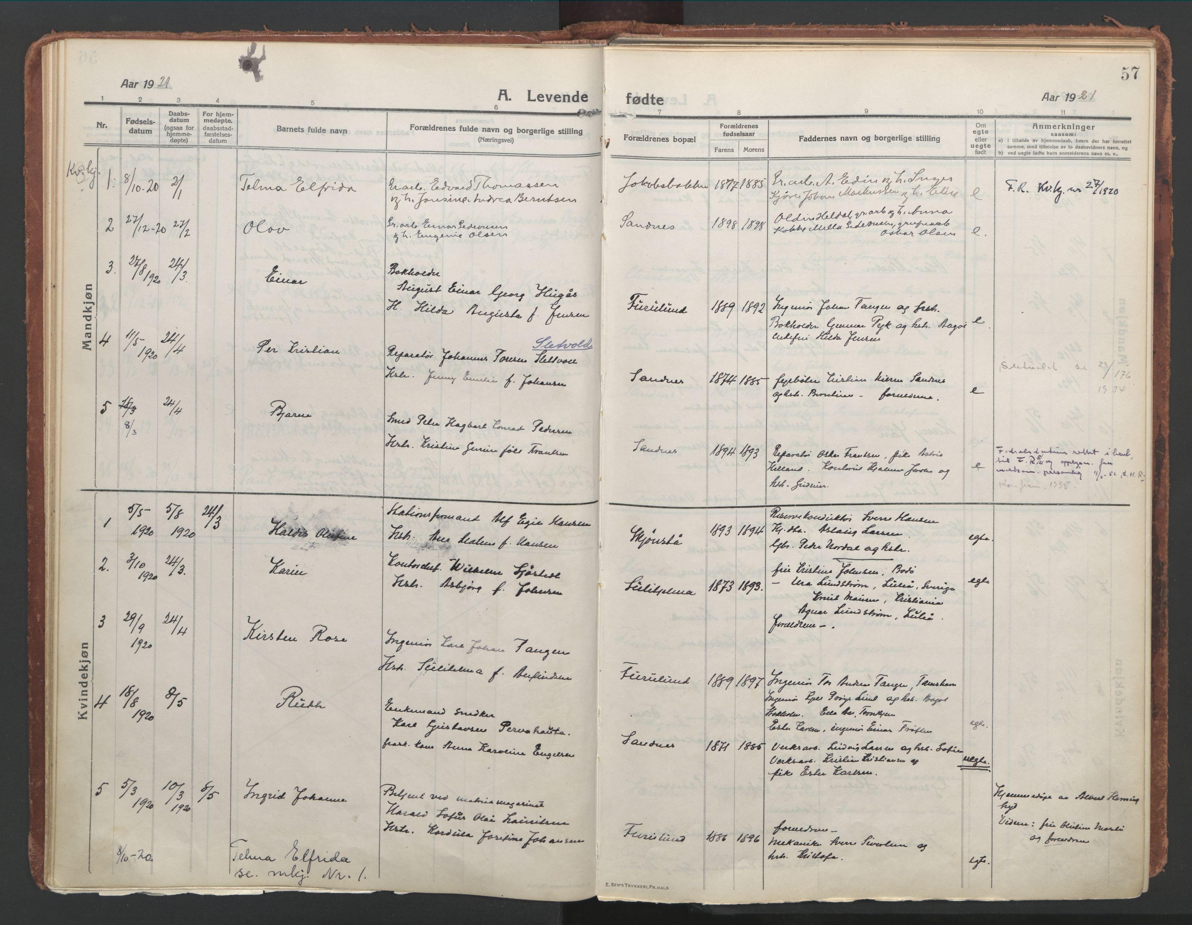 SAT, Ministerialprotokoller, klokkerbøker og fødselsregistre - Nordland, 850/L0715: Residerende kapellans bok nr. 850B05, 1913-1924, s. 57