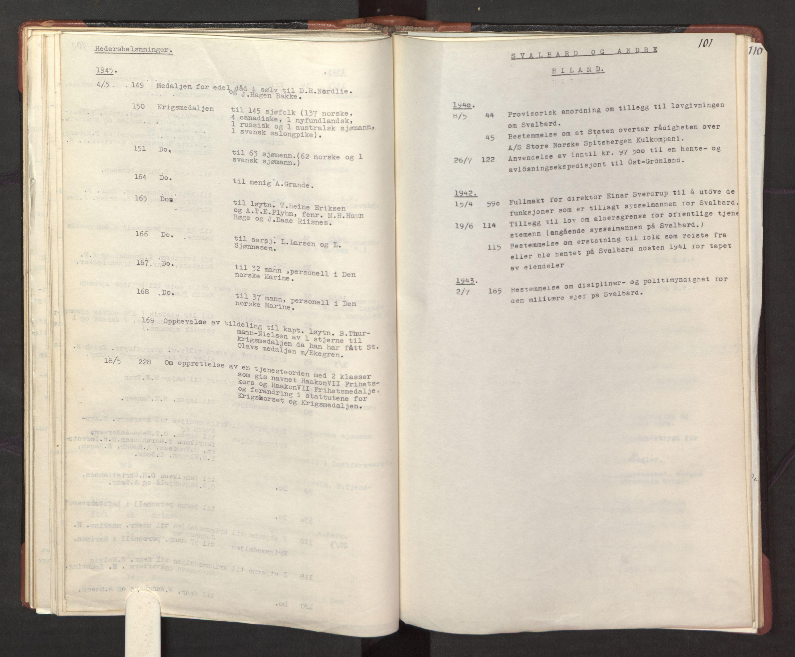 RA, Statsrådssekretariatet, A/Ac/L0127: Register 9/4-25/5, 1940-1945, s. 101