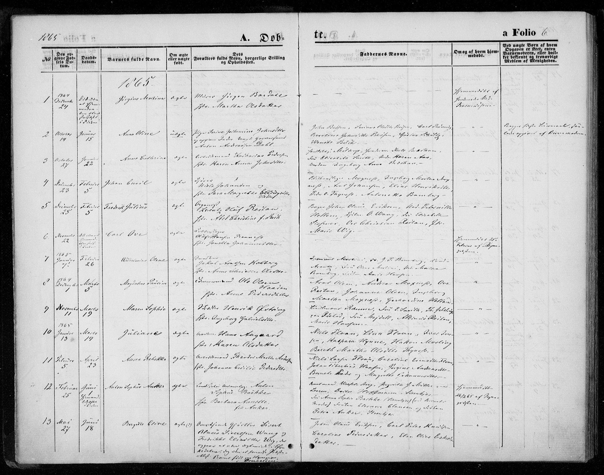 SAT, Ministerialprotokoller, klokkerbøker og fødselsregistre - Nord-Trøndelag, 720/L0186: Ministerialbok nr. 720A03, 1864-1874, s. 6