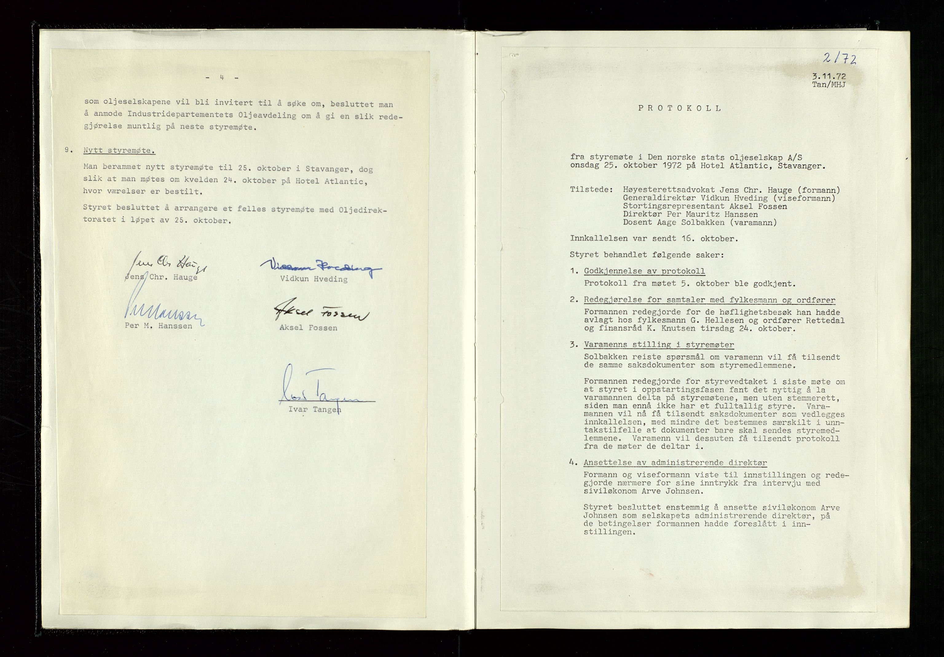 SAST, Pa 1339 - Statoil ASA, A/Ab/Aba/L0001: Styremøteprotokoller, 05.10.1972 til 14.12.1978, 1972-1978, s. 10