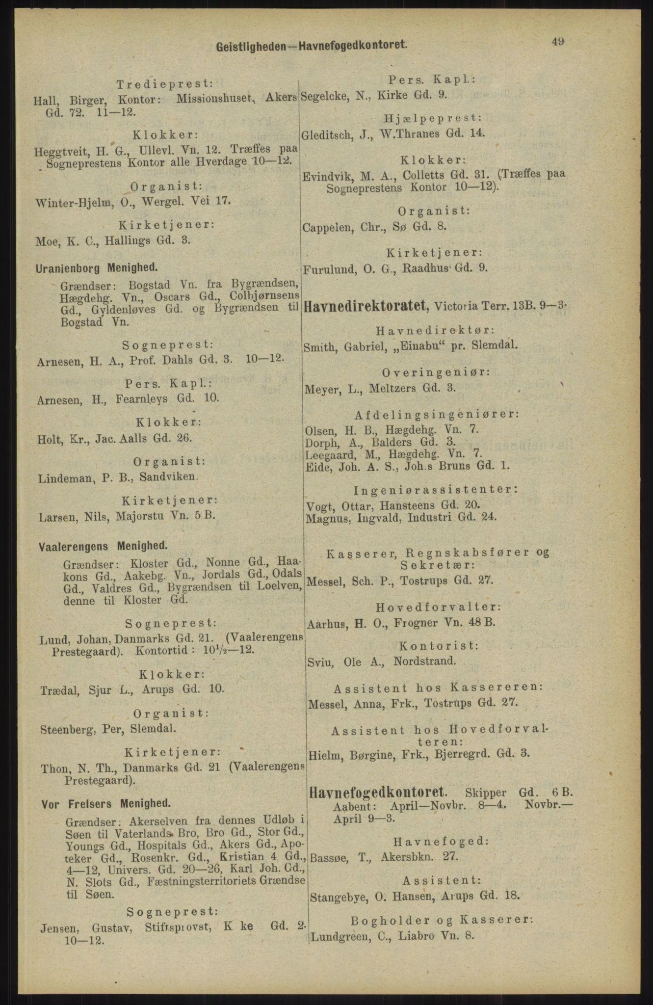 RA, Kristiania adressebok (publikasjon)*, 1904, s. 49