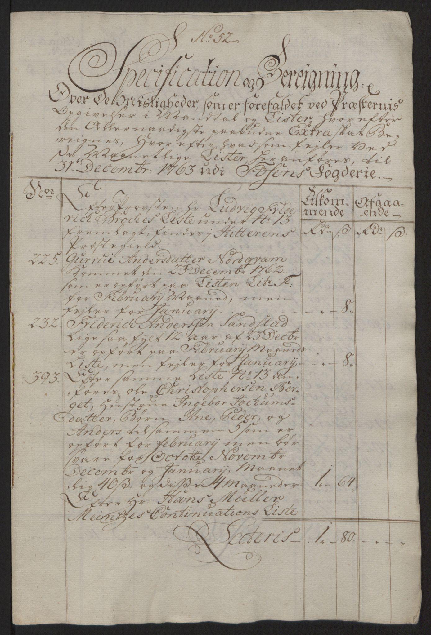 RA, Rentekammeret inntil 1814, Reviderte regnskaper, Fogderegnskap, R57/L3930: Ekstraskatten Fosen, 1762-1763, s. 441