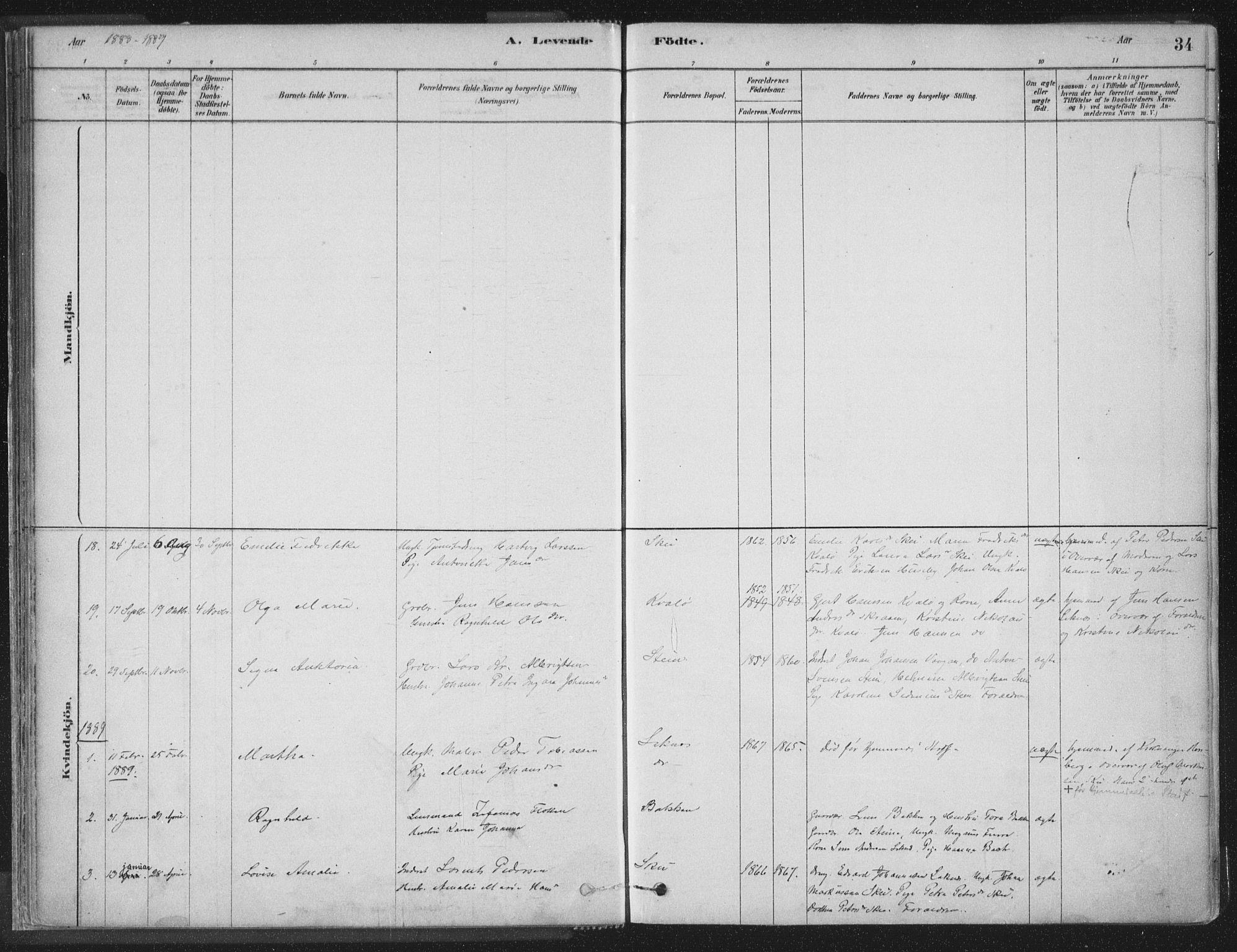 SAT, Ministerialprotokoller, klokkerbøker og fødselsregistre - Nord-Trøndelag, 788/L0697: Ministerialbok nr. 788A04, 1878-1902, s. 34