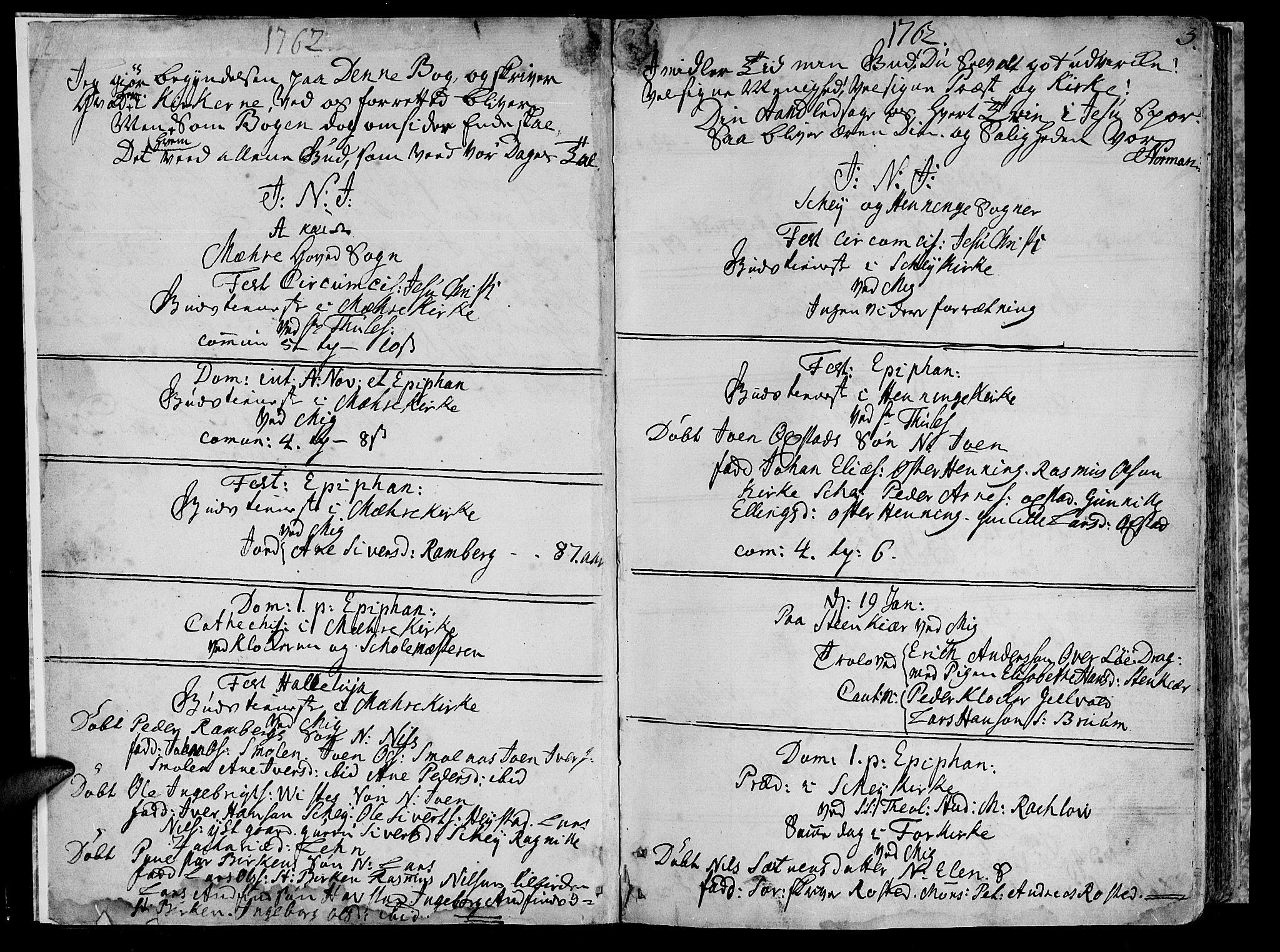 SAT, Ministerialprotokoller, klokkerbøker og fødselsregistre - Nord-Trøndelag, 735/L0331: Ministerialbok nr. 735A02, 1762-1794, s. 2-3