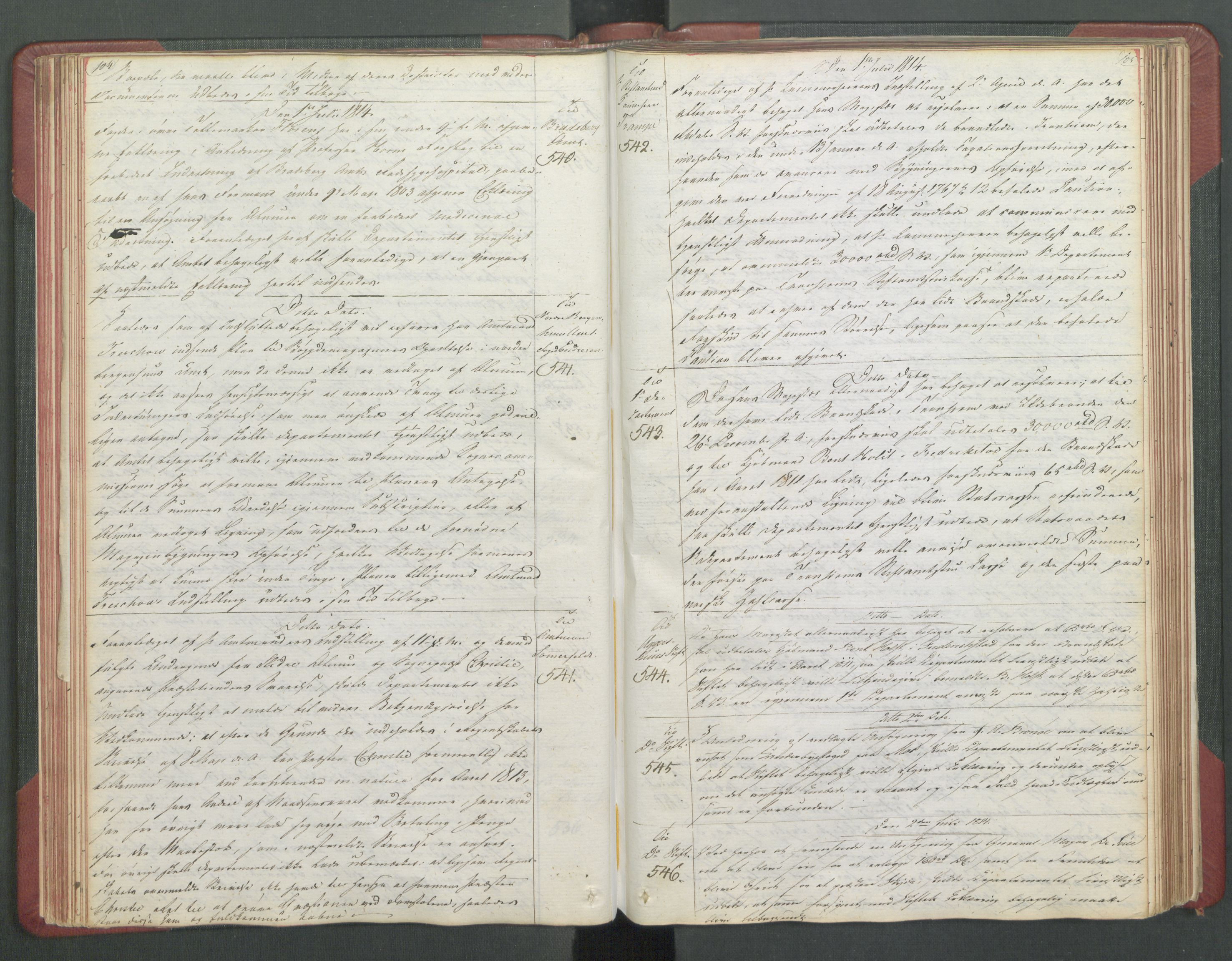 RA, Departementene i 1814, Fb/L0028: Kopibok 1-1371, 1814, s. 104-105