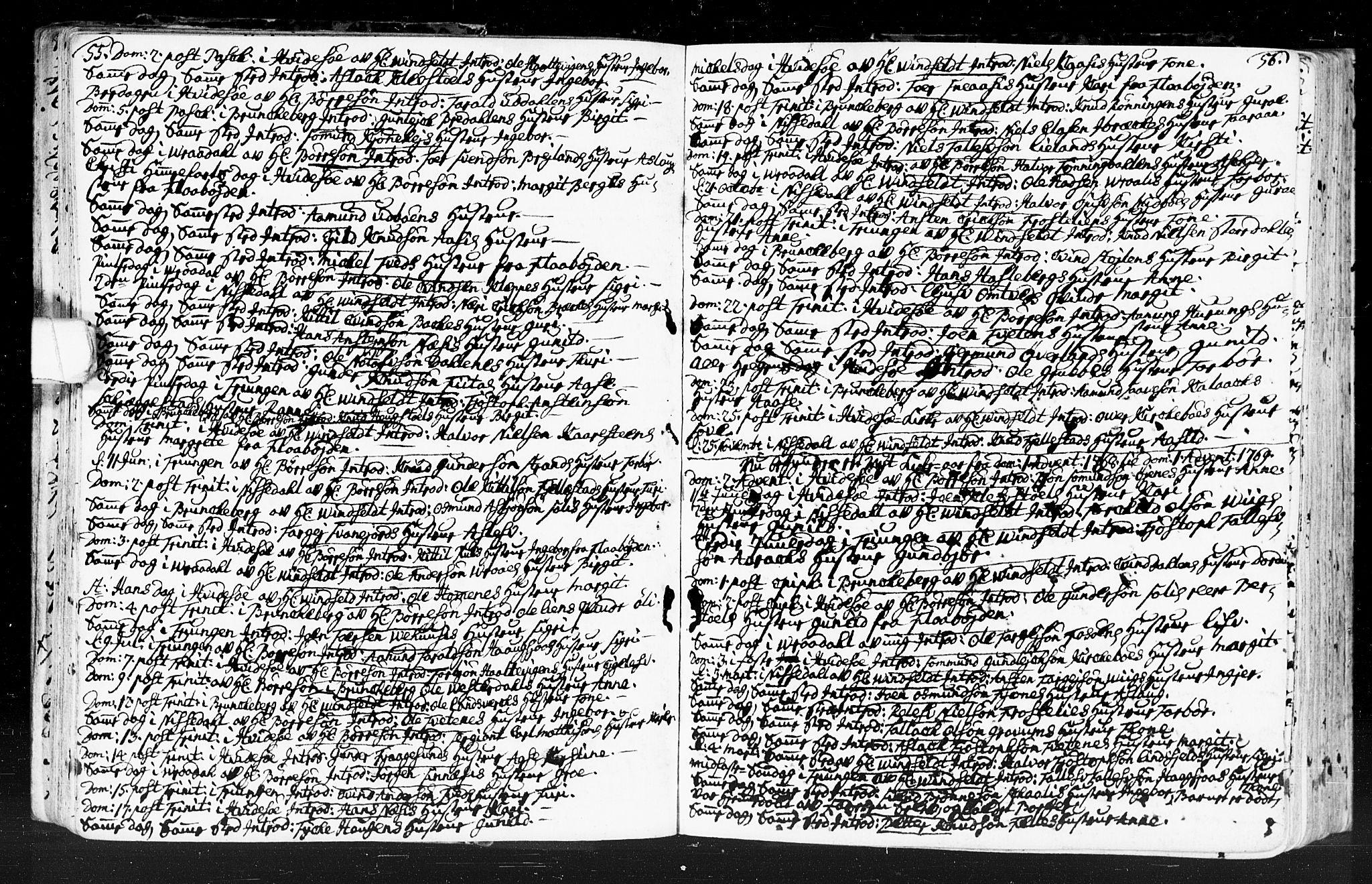 SAKO, Kviteseid kirkebøker, F/Fa/L0001: Ministerialbok nr. I 1, 1754-1773, s. 55-56