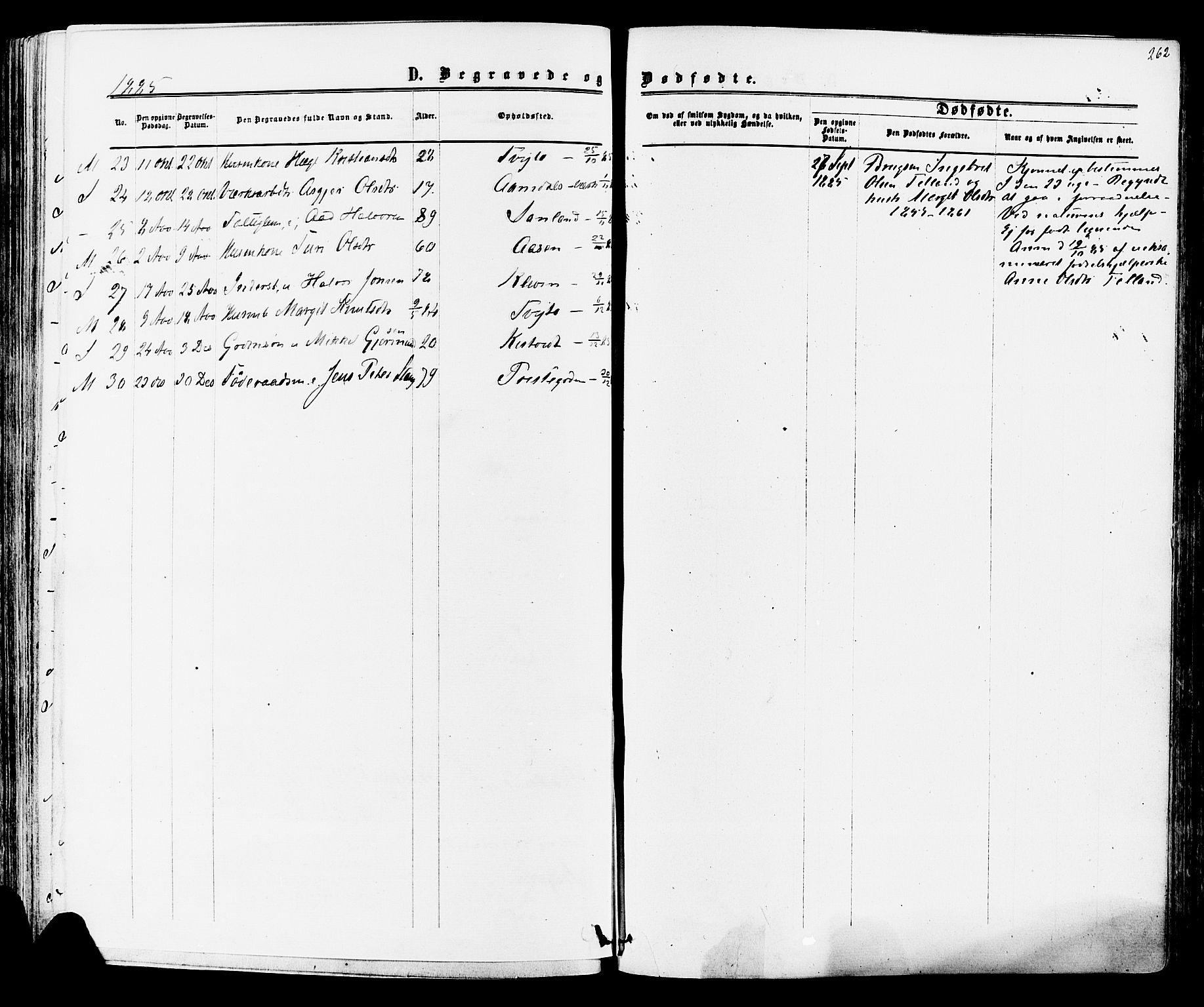 SAKO, Mo kirkebøker, F/Fa/L0006: Ministerialbok nr. I 6, 1865-1885, s. 262
