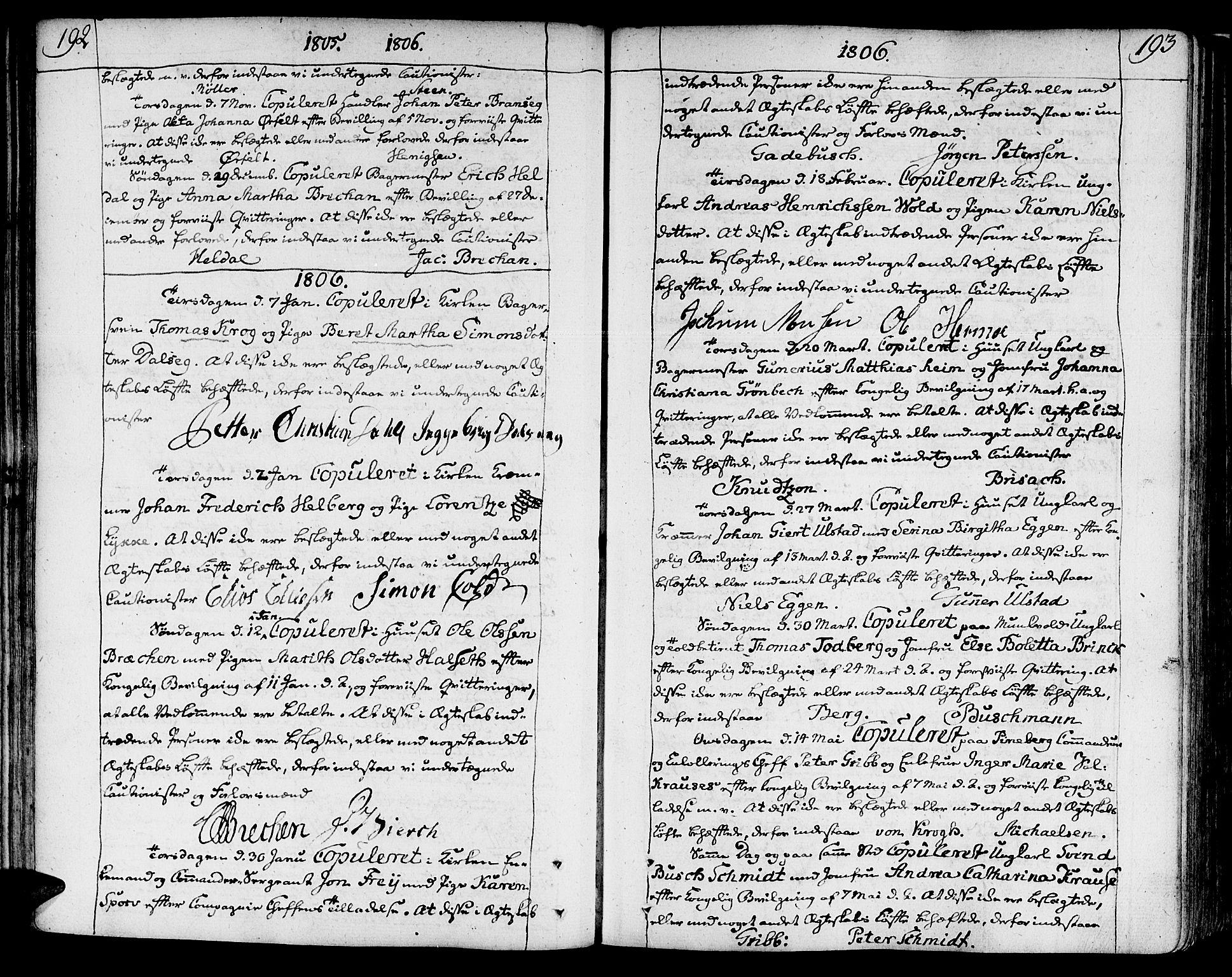 SAT, Ministerialprotokoller, klokkerbøker og fødselsregistre - Sør-Trøndelag, 602/L0105: Ministerialbok nr. 602A03, 1774-1814, s. 192-193