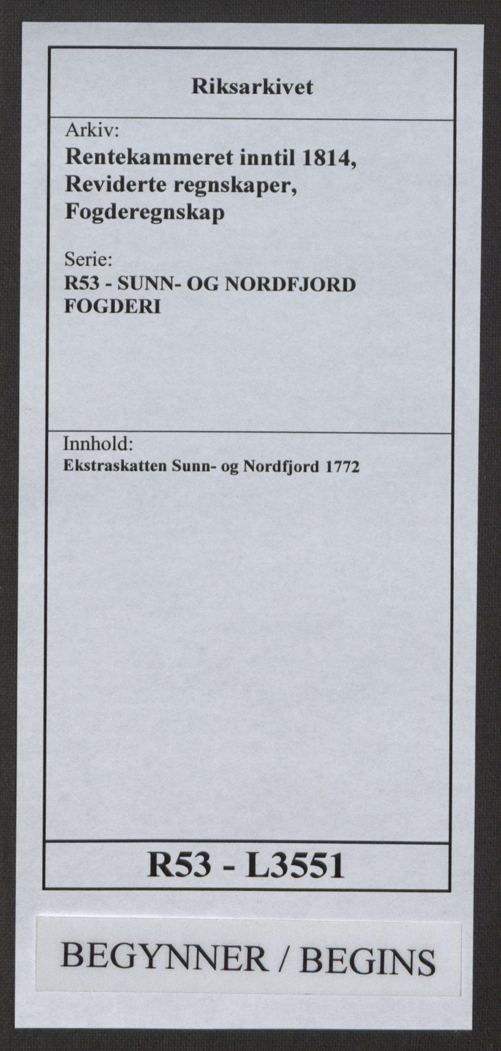 RA, Rentekammeret inntil 1814, Reviderte regnskaper, Fogderegnskap, R53/L3551: Ekstraskatten Sunn- og Nordfjord, 1772, s. 1