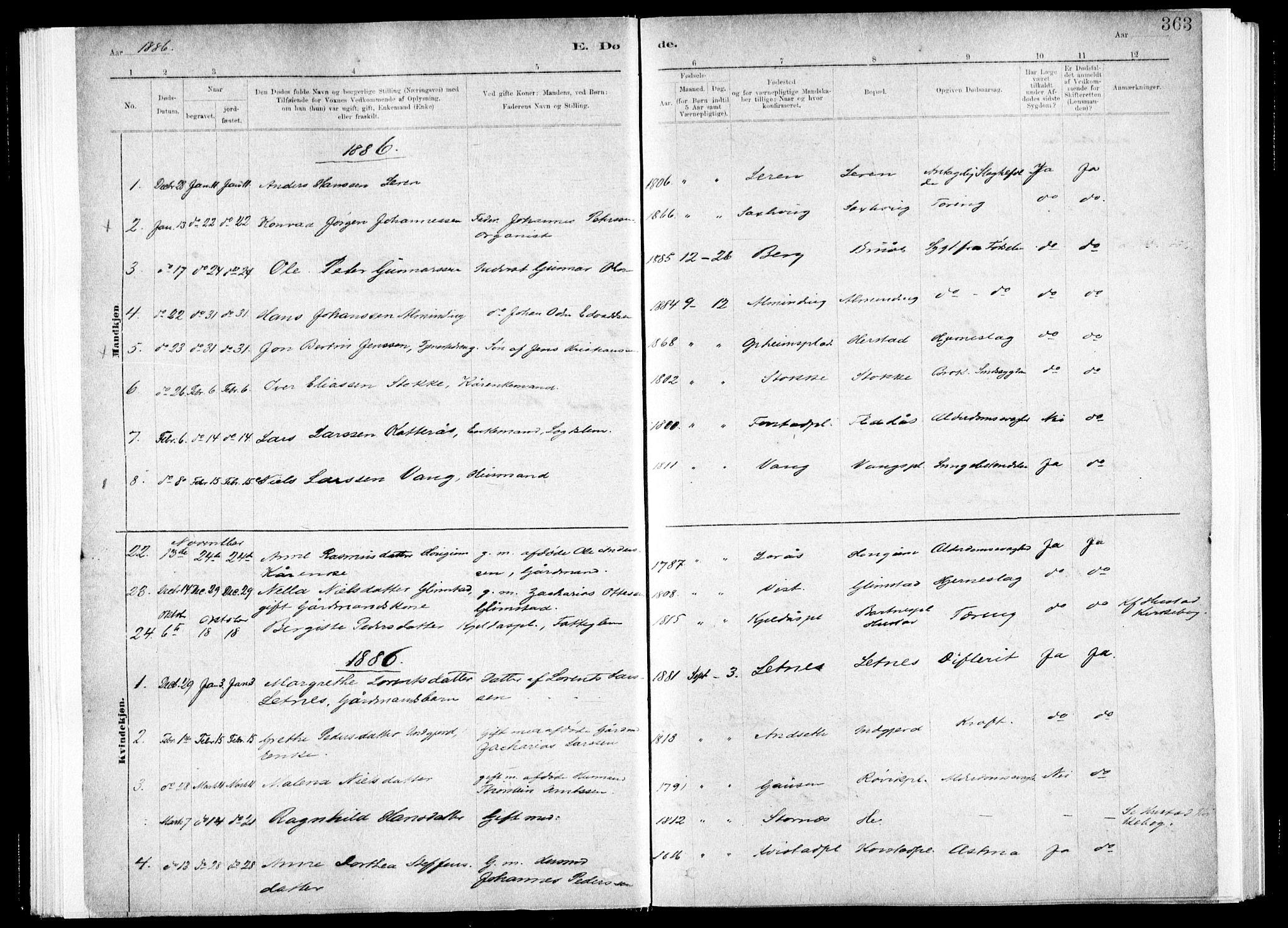 SAT, Ministerialprotokoller, klokkerbøker og fødselsregistre - Nord-Trøndelag, 730/L0285: Ministerialbok nr. 730A10, 1879-1914, s. 363