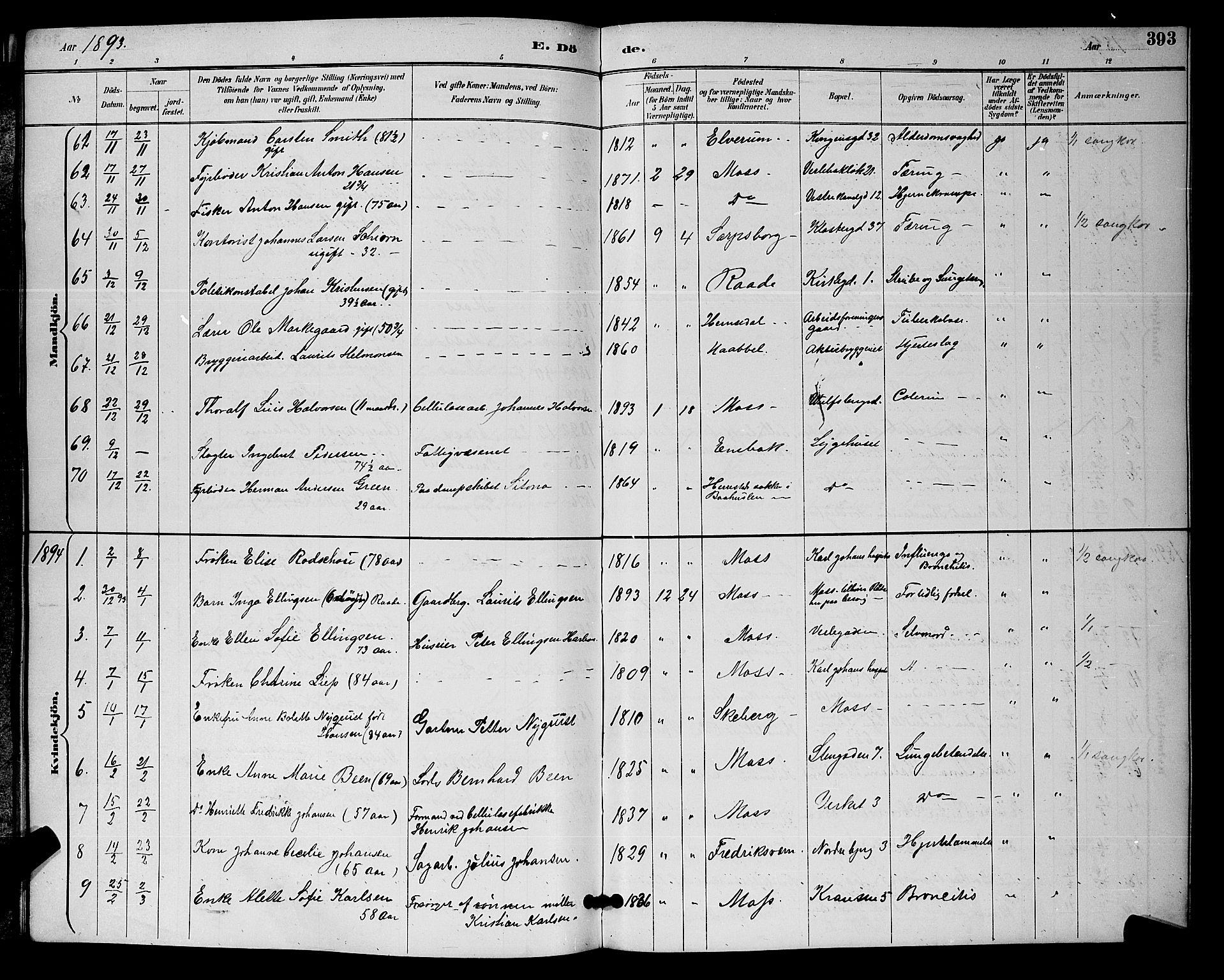 SAO, Moss prestekontor Kirkebøker, G/Ga/L0006: Klokkerbok nr. I 6, 1889-1900, s. 393