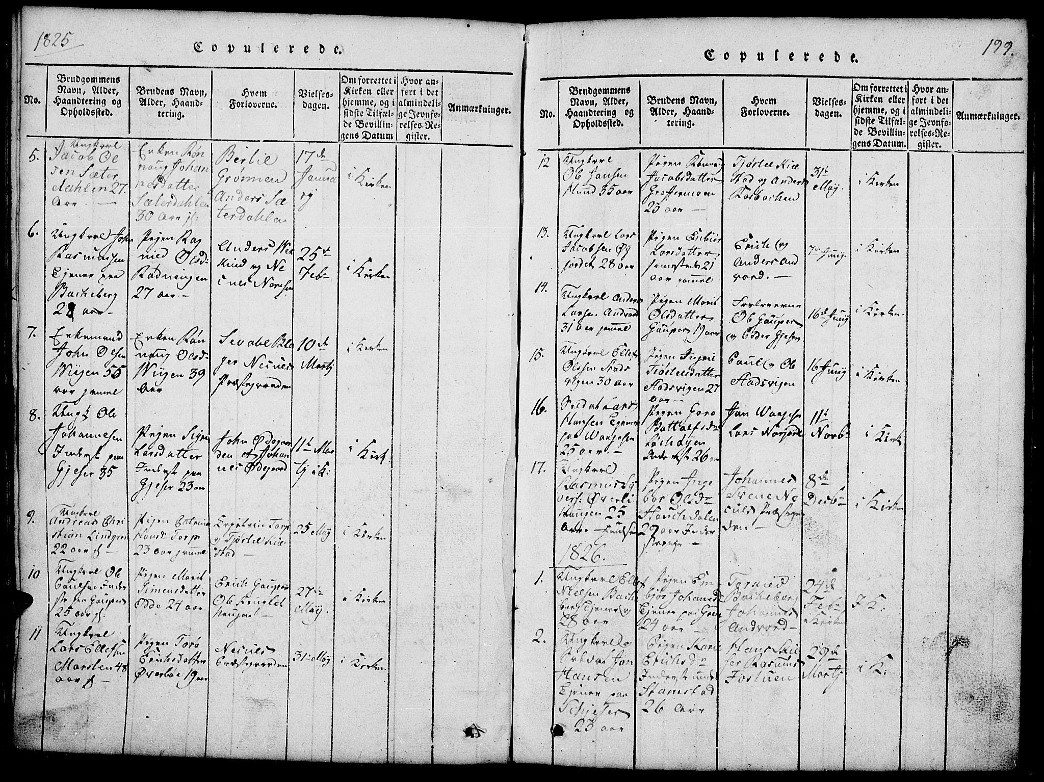 SAH, Lom prestekontor, L/L0001: Klokkerbok nr. 1, 1815-1836, s. 199