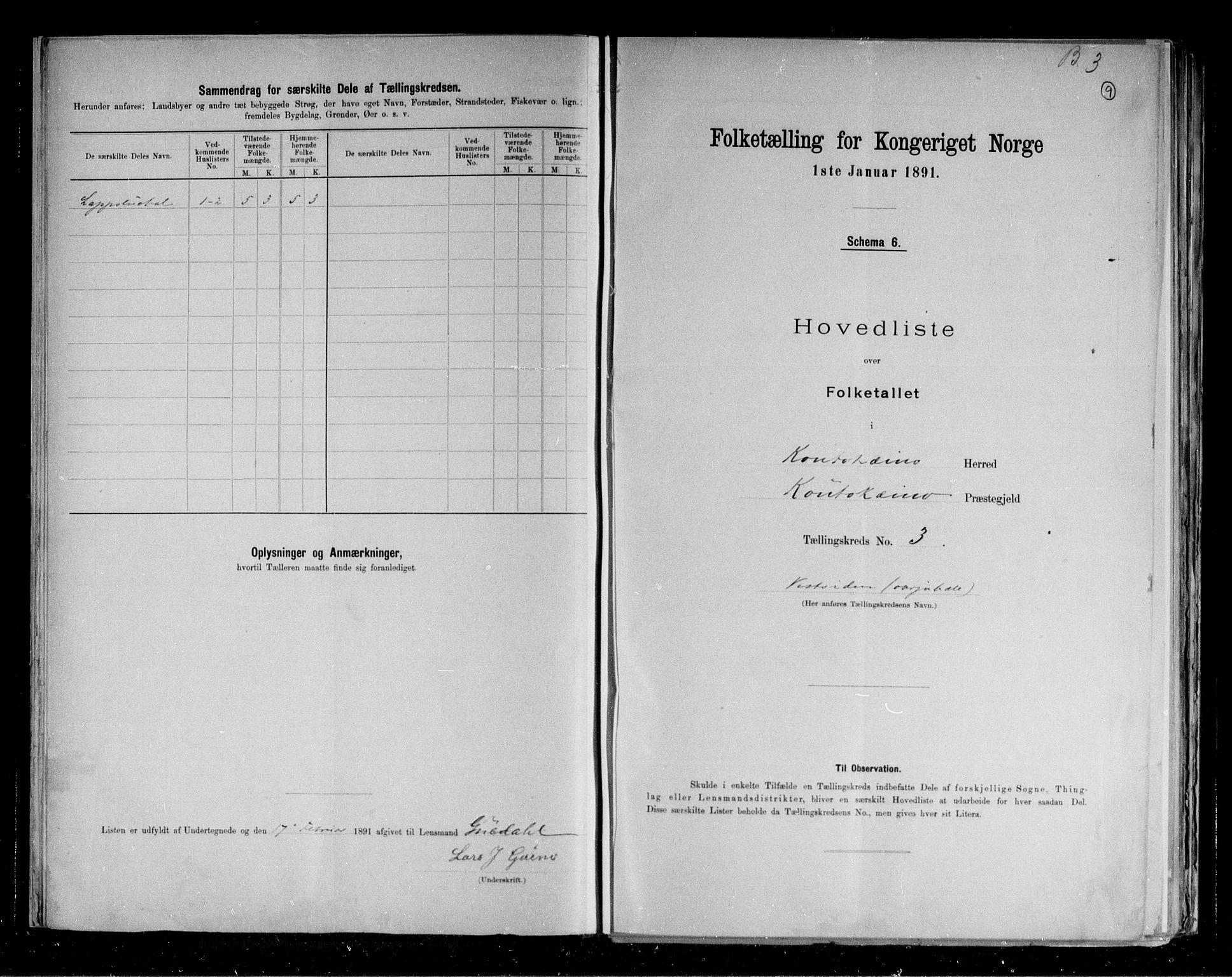 RA, Folketelling 1891 for 2011 Kautokeino herred, 1891, s. 10