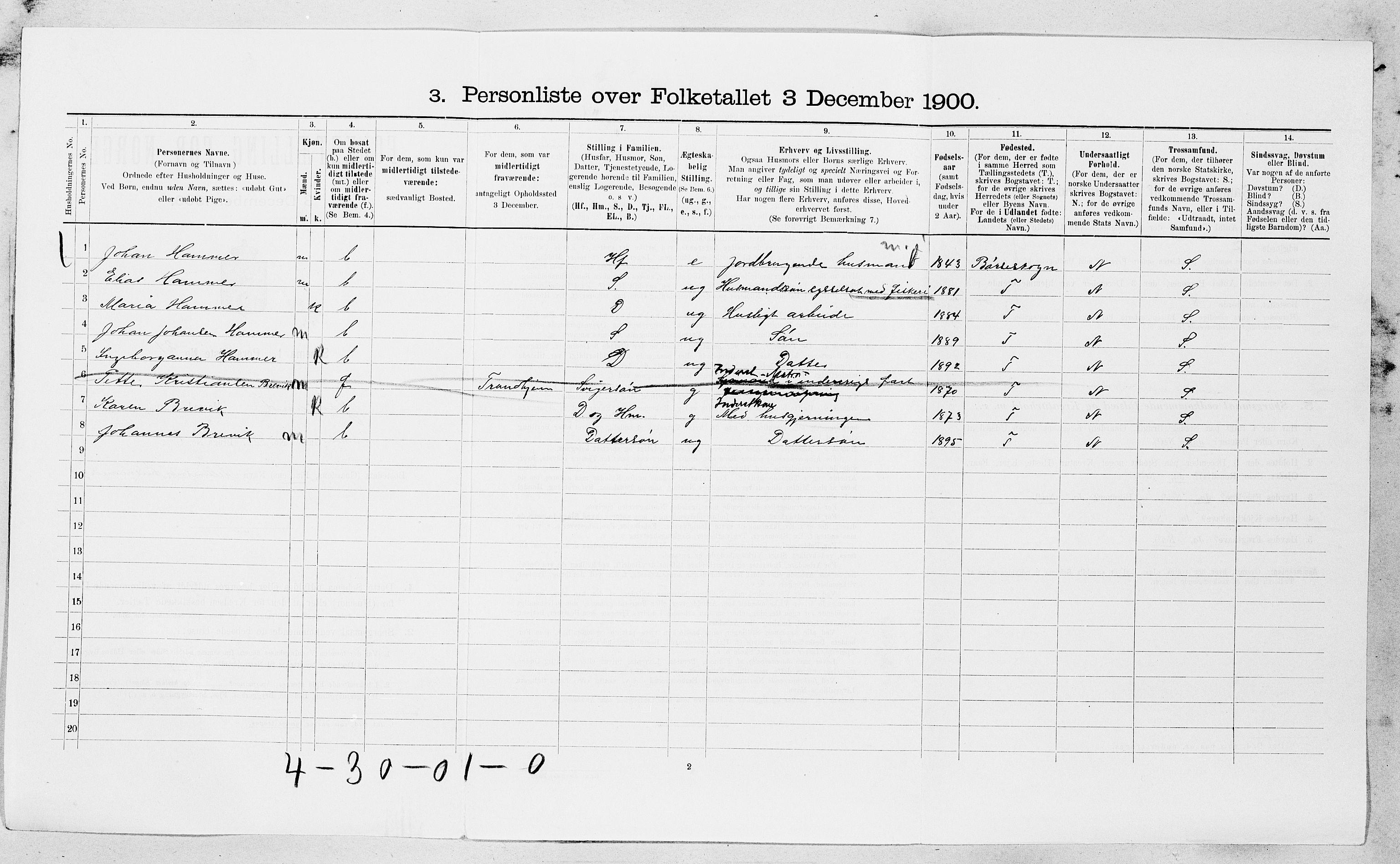 SAT, Folketelling 1900 for 1629 Jøssund herred, 1900, s. 466