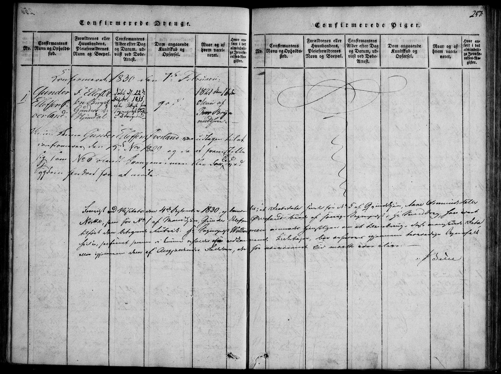 SAKO, Nissedal kirkebøker, F/Fb/L0001: Ministerialbok nr. II 1, 1814-1845, s. 257