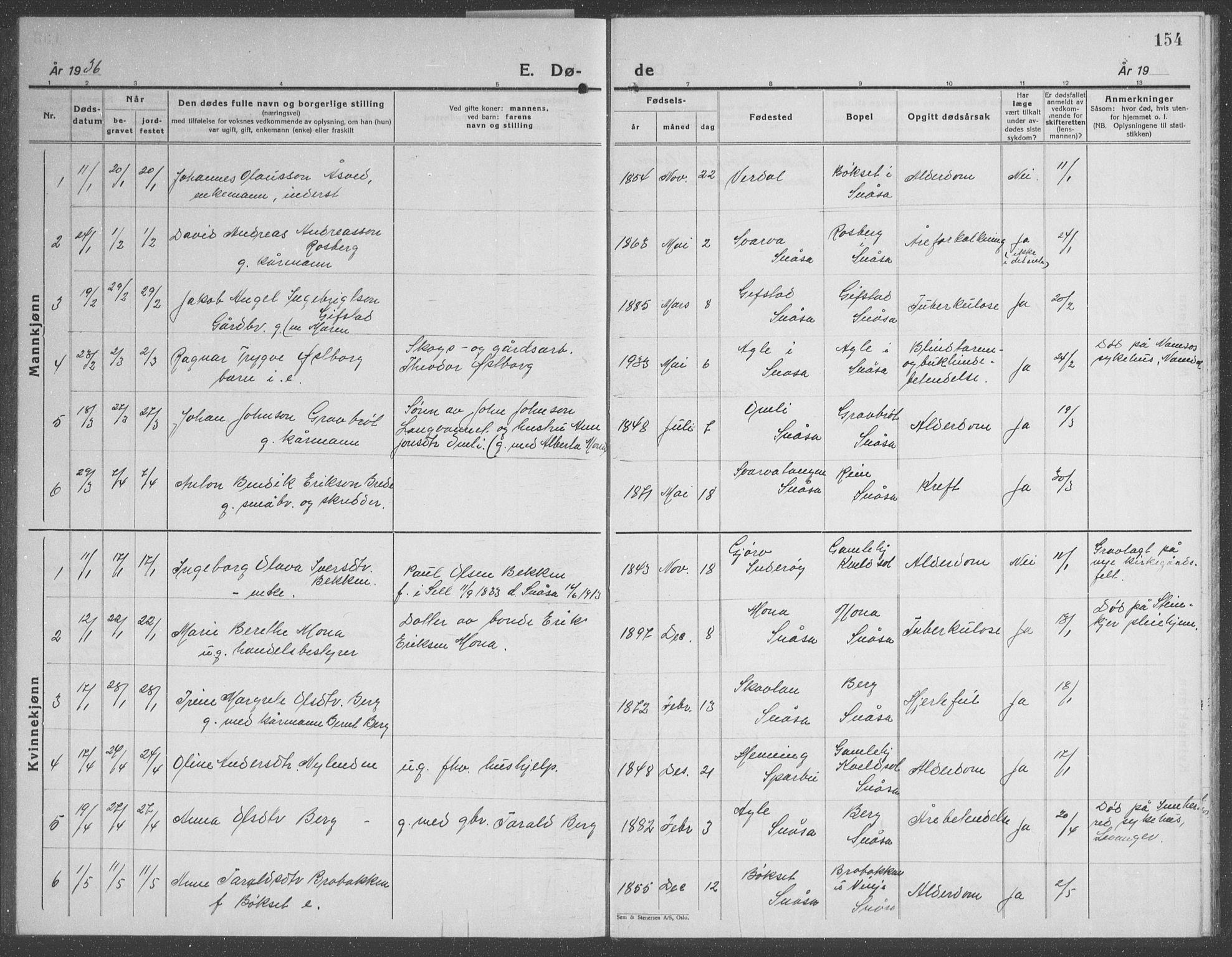 SAT, Ministerialprotokoller, klokkerbøker og fødselsregistre - Nord-Trøndelag, 749/L0481: Klokkerbok nr. 749C03, 1933-1945, s. 154