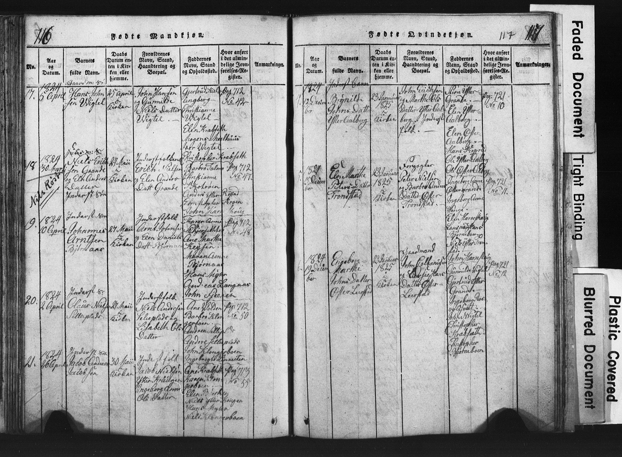 SAT, Ministerialprotokoller, klokkerbøker og fødselsregistre - Nord-Trøndelag, 701/L0017: Klokkerbok nr. 701C01, 1817-1825, s. 116-117