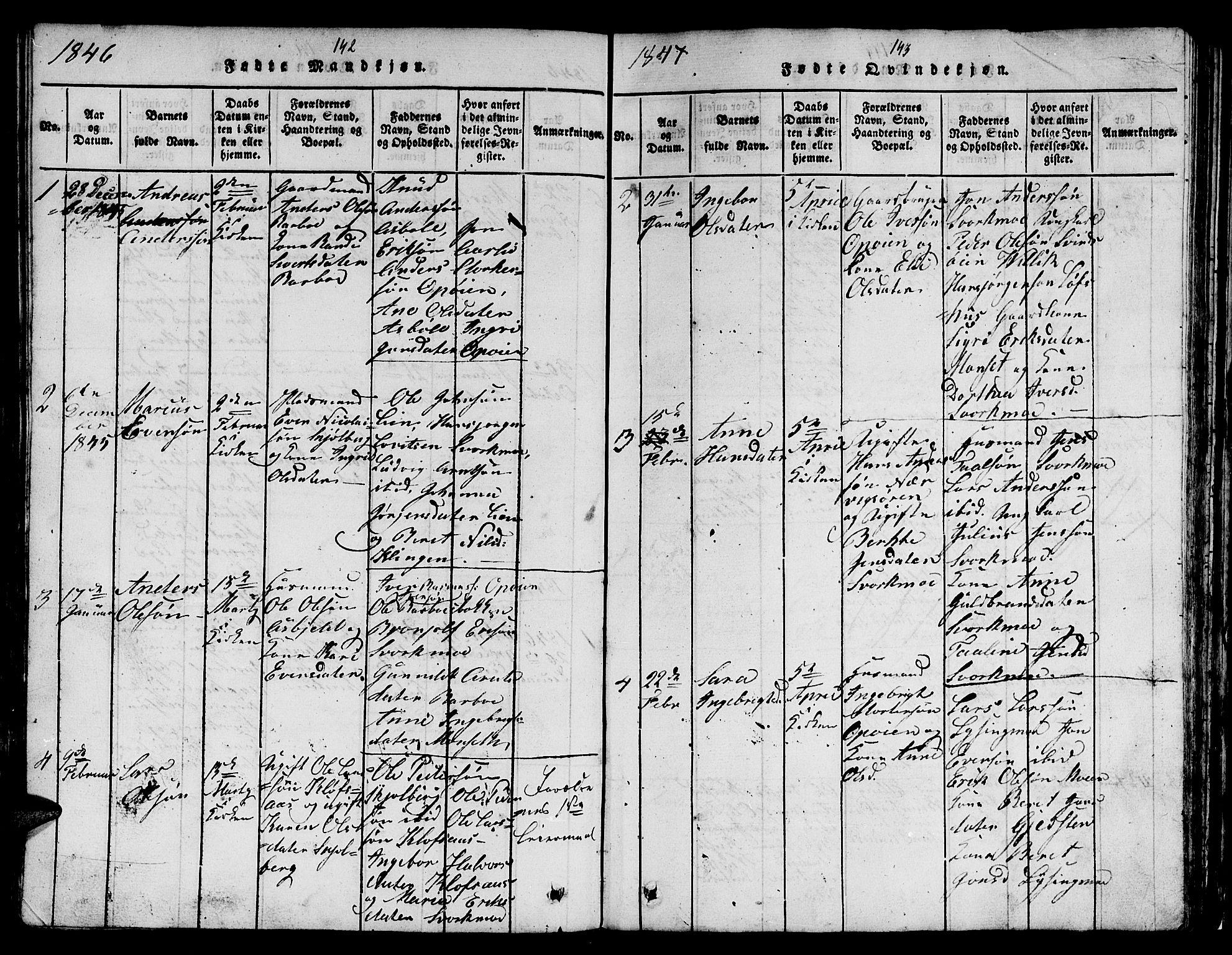 SAT, Ministerialprotokoller, klokkerbøker og fødselsregistre - Sør-Trøndelag, 671/L0842: Klokkerbok nr. 671C01, 1816-1867, s. 142-143