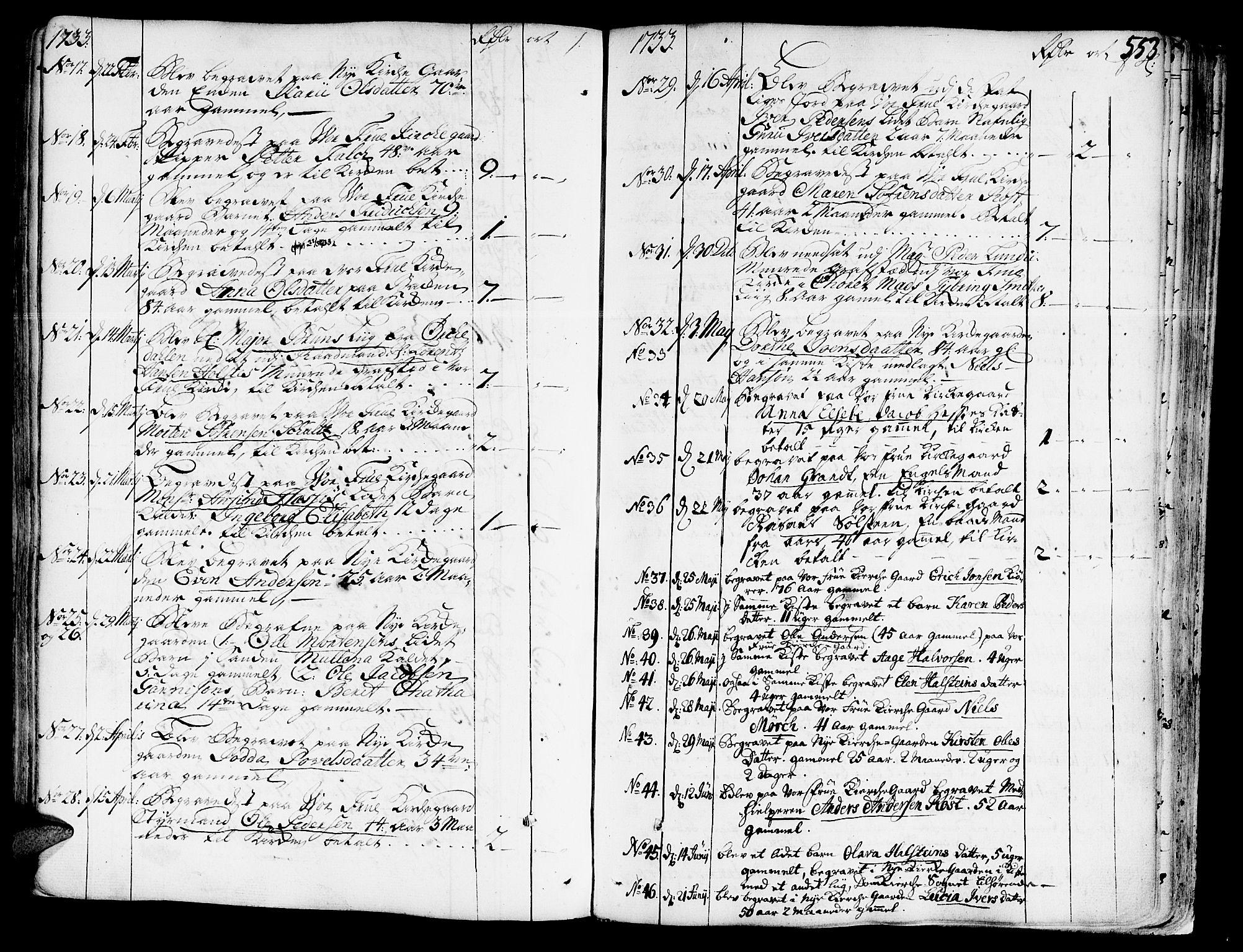 SAT, Ministerialprotokoller, klokkerbøker og fødselsregistre - Sør-Trøndelag, 602/L0103: Ministerialbok nr. 602A01, 1732-1774, s. 553