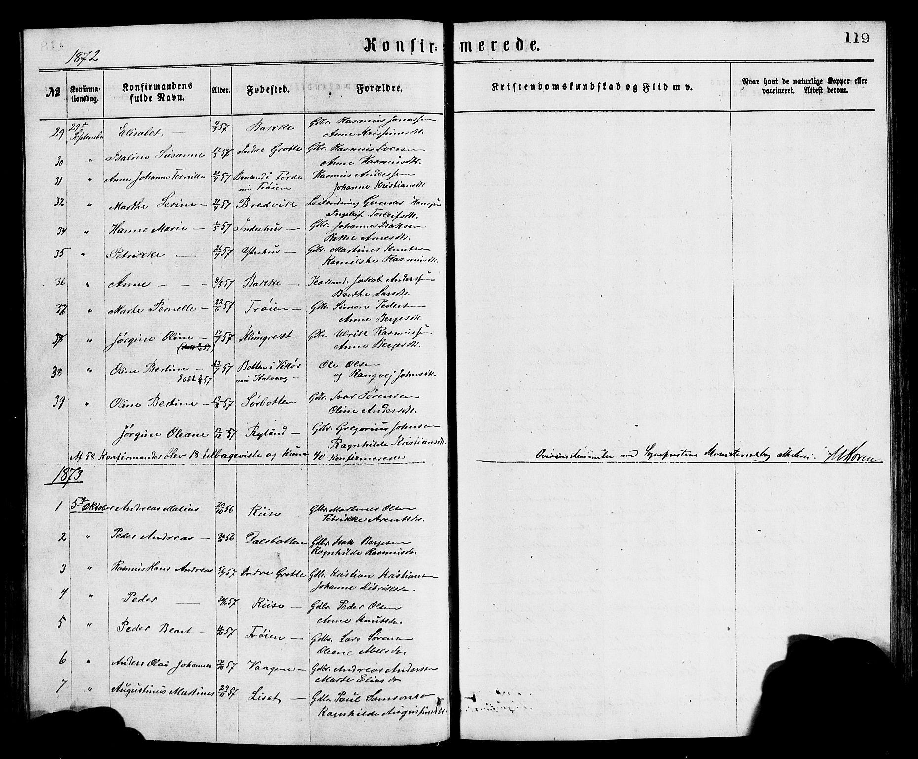 SAB, Bremanger Sokneprestembete, H/Hab: Klokkerbok nr. A 2, 1866-1889, s. 119