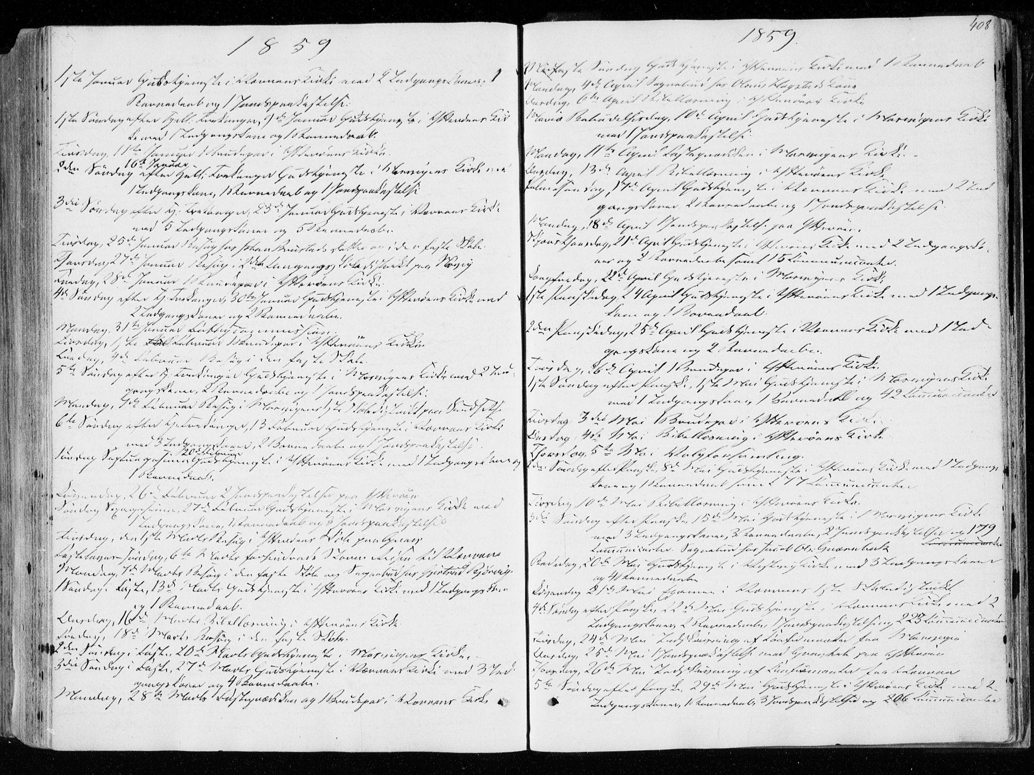 SAT, Ministerialprotokoller, klokkerbøker og fødselsregistre - Nord-Trøndelag, 722/L0218: Ministerialbok nr. 722A05, 1843-1868, s. 408