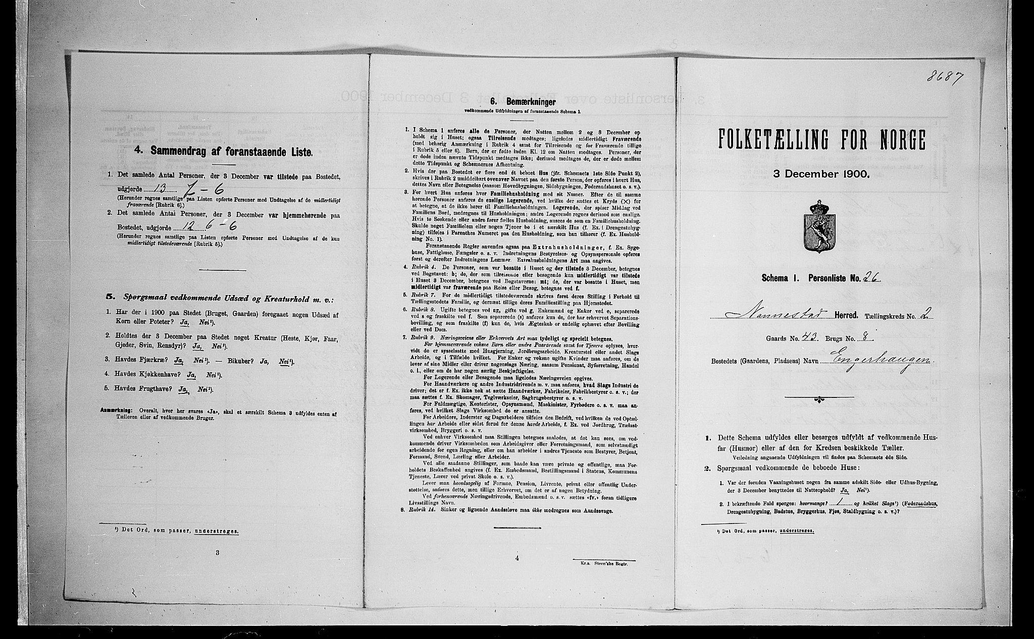 SAO, Folketelling 1900 for 0238 Nannestad herred, 1900