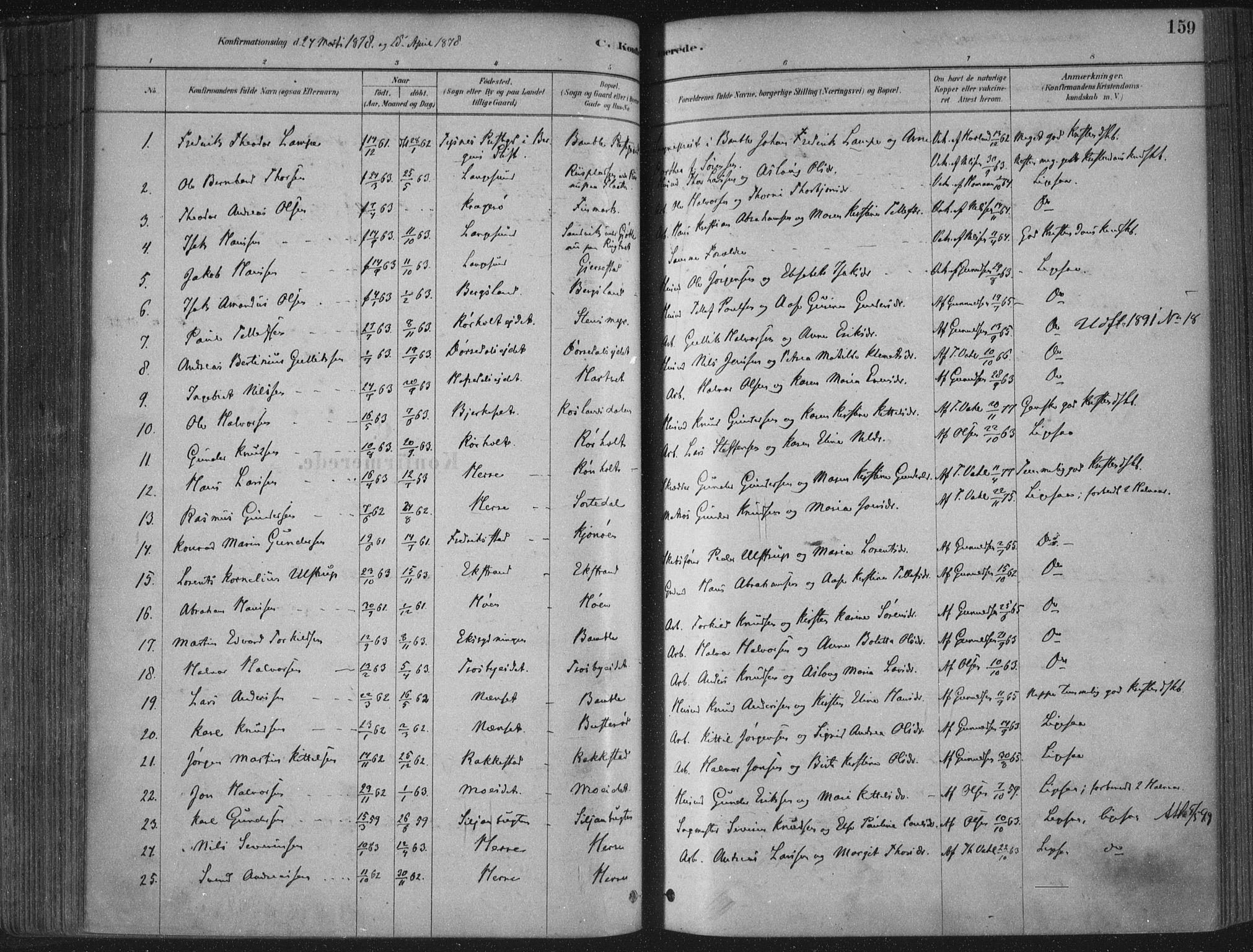 SAKO, Bamble kirkebøker, F/Fa/L0007: Ministerialbok nr. I 7, 1878-1888, s. 159