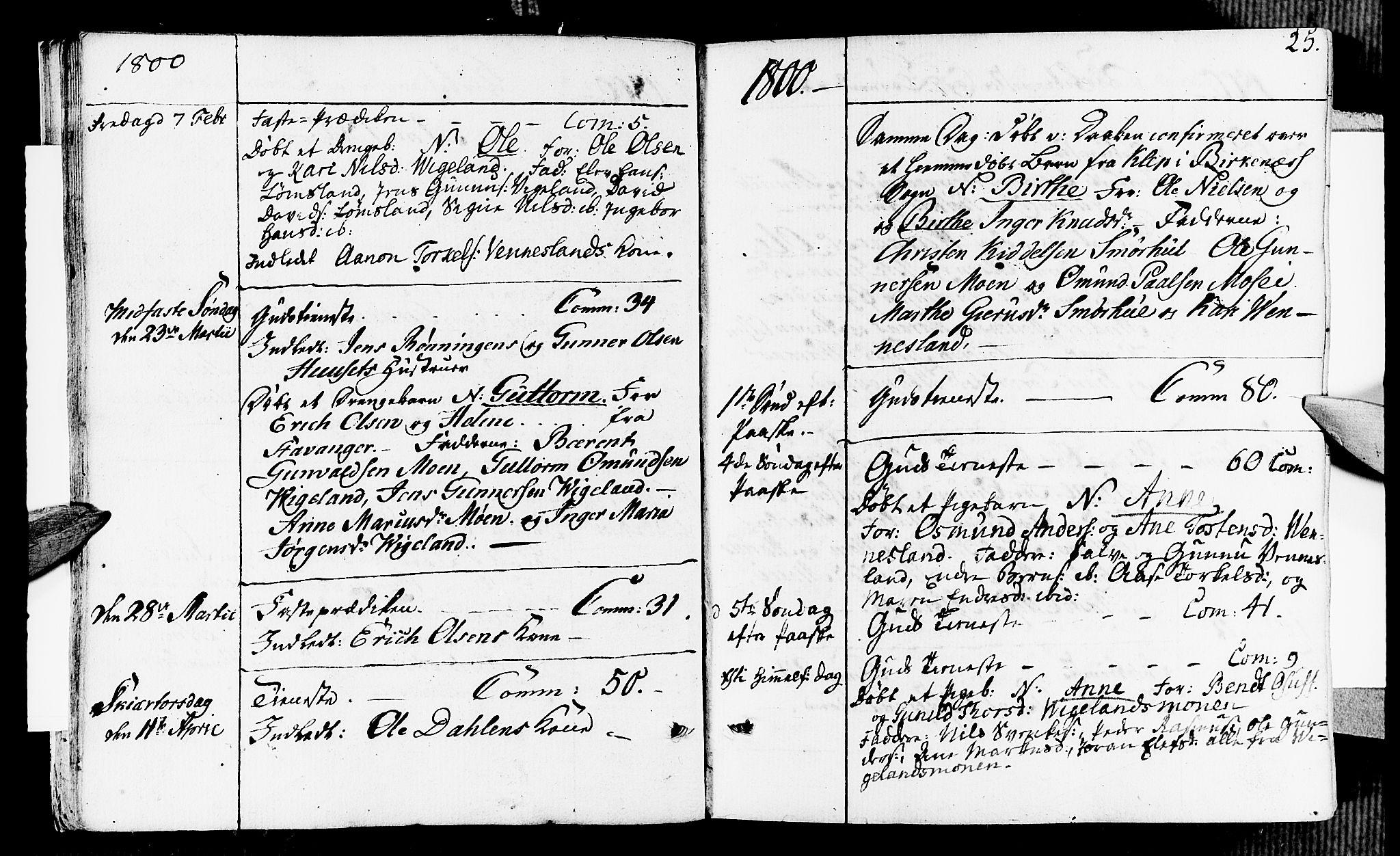 SAK, Vennesla sokneprestkontor, Fa/Fab/L0002: Ministerialbok nr. A 2, 1794-1834, s. 25