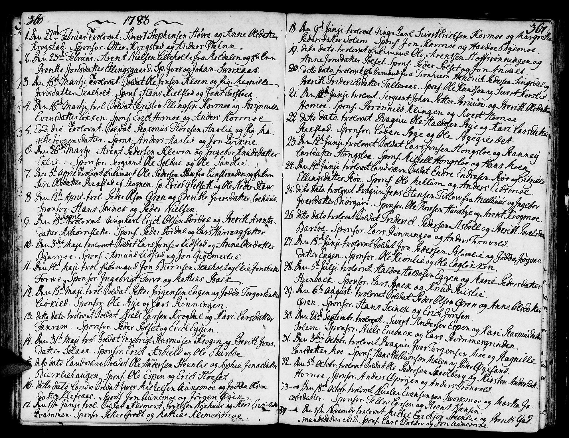 SAT, Ministerialprotokoller, klokkerbøker og fødselsregistre - Sør-Trøndelag, 668/L0802: Ministerialbok nr. 668A02, 1776-1799, s. 360-361