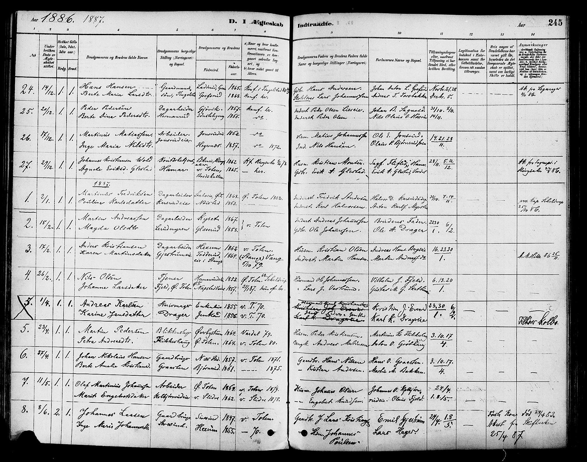 SAH, Vestre Toten prestekontor, Ministerialbok nr. 9, 1878-1894, s. 245