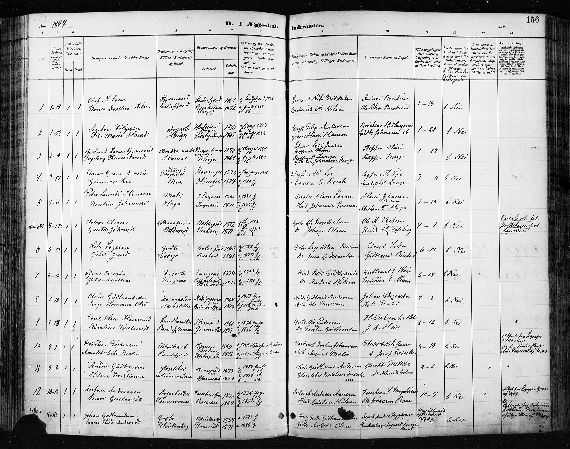 SAH, Jevnaker prestekontor, Ministerialbok nr. 9, 1891-1901, s. 156