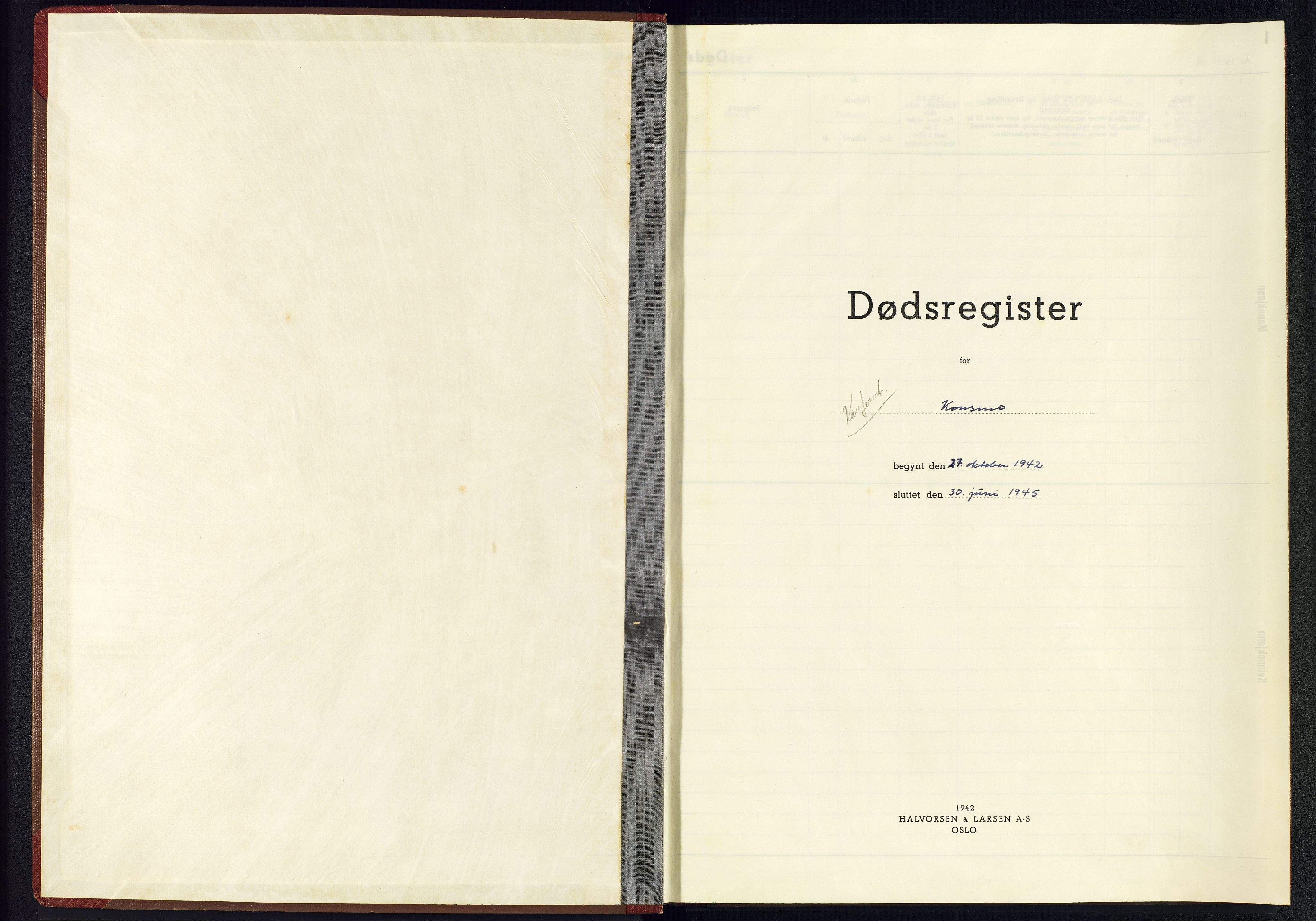 SAK, Nord-Audnedal sokneprestkontor, J/Jb/L0006: A-VI-6 - Dødsfallsregister Konsmo, 1942-1945