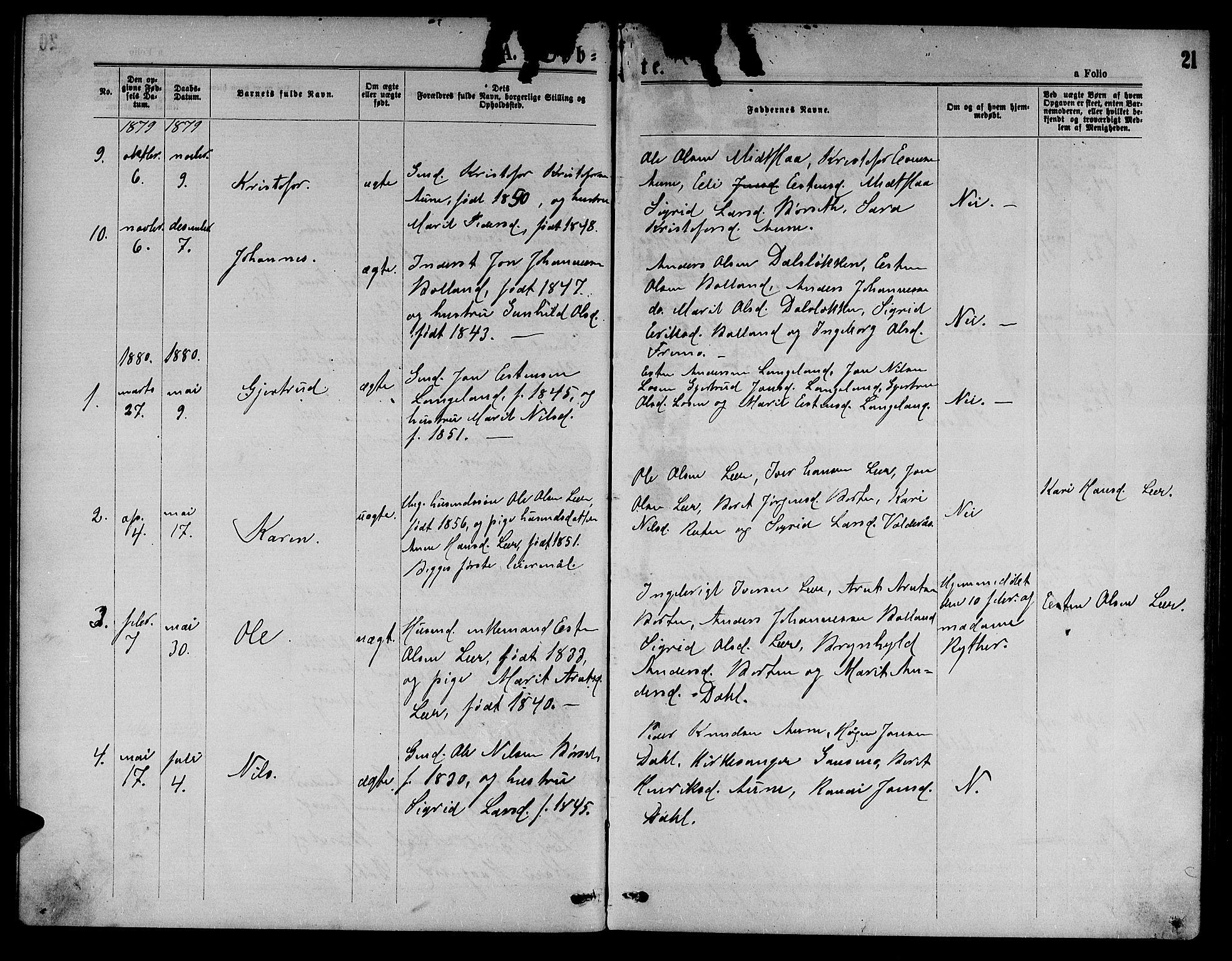 SAT, Ministerialprotokoller, klokkerbøker og fødselsregistre - Sør-Trøndelag, 693/L1122: Klokkerbok nr. 693C03, 1870-1886, s. 21