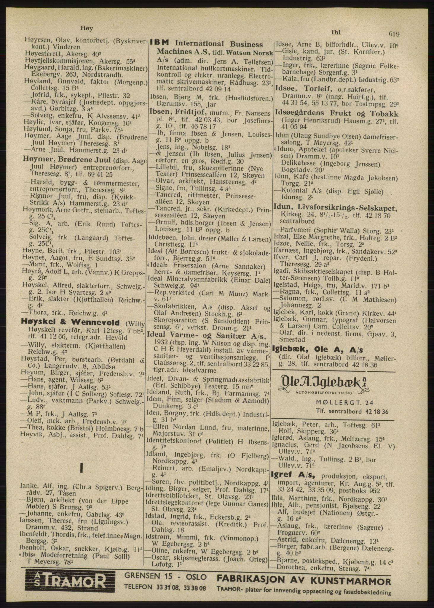 RA, Oslo adressebok (publikasjon)*, 1947, s. 619
