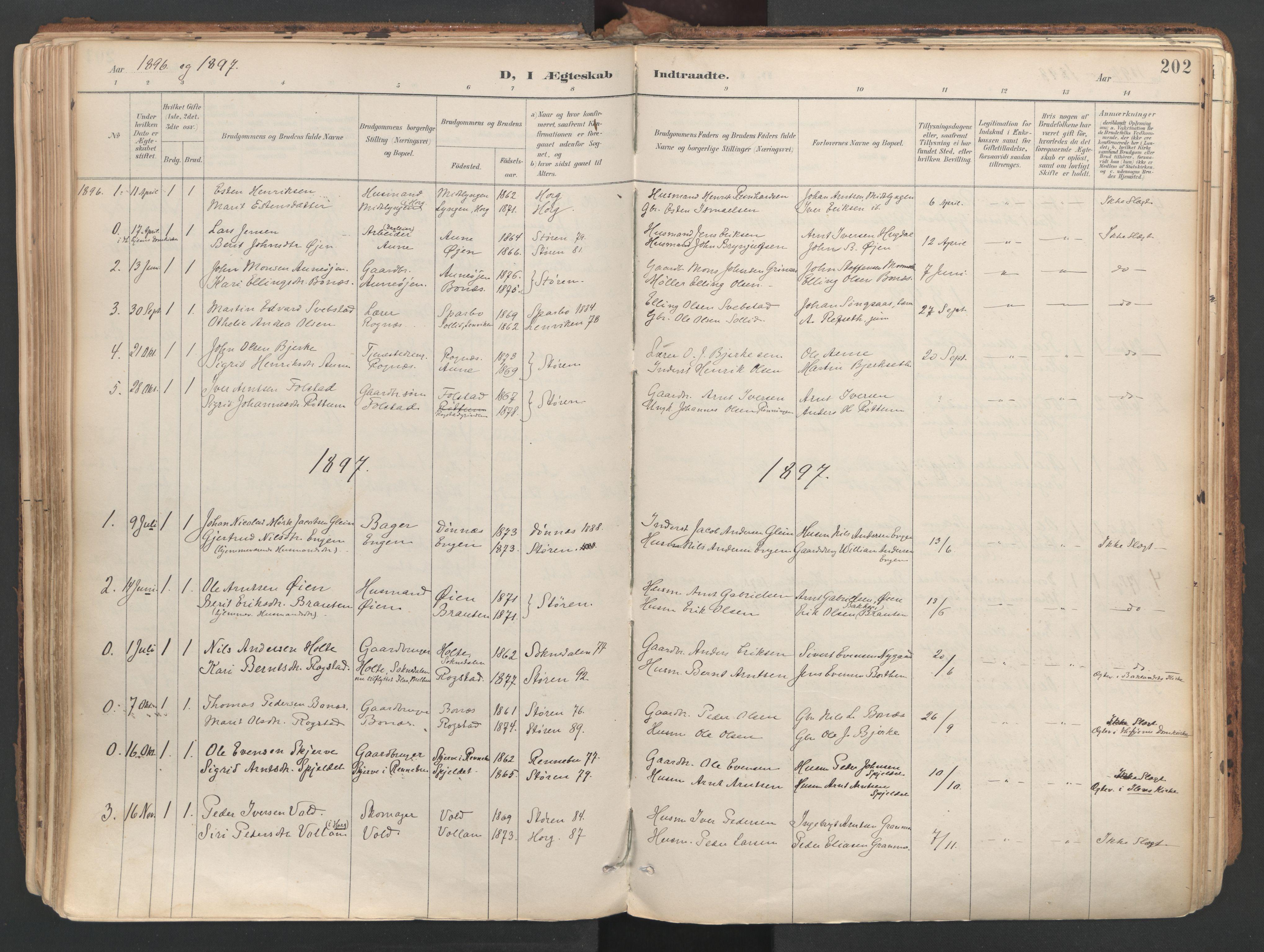 SAT, Ministerialprotokoller, klokkerbøker og fødselsregistre - Sør-Trøndelag, 687/L1004: Ministerialbok nr. 687A10, 1891-1923, s. 202