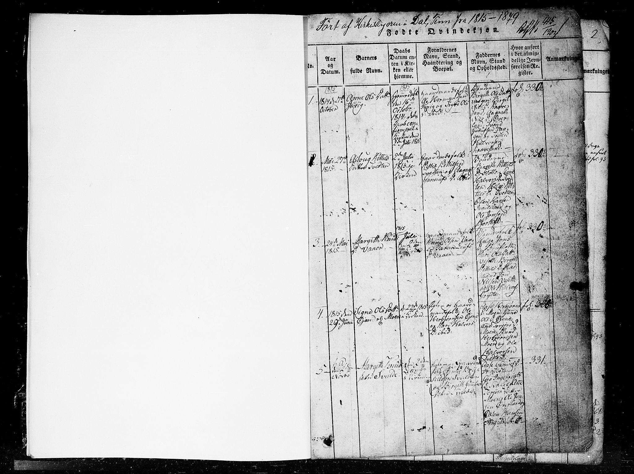 SAKO, Tinn kirkebøker, G/Gc/L0001: Klokkerbok nr. III 1, 1815-1879, s. 1