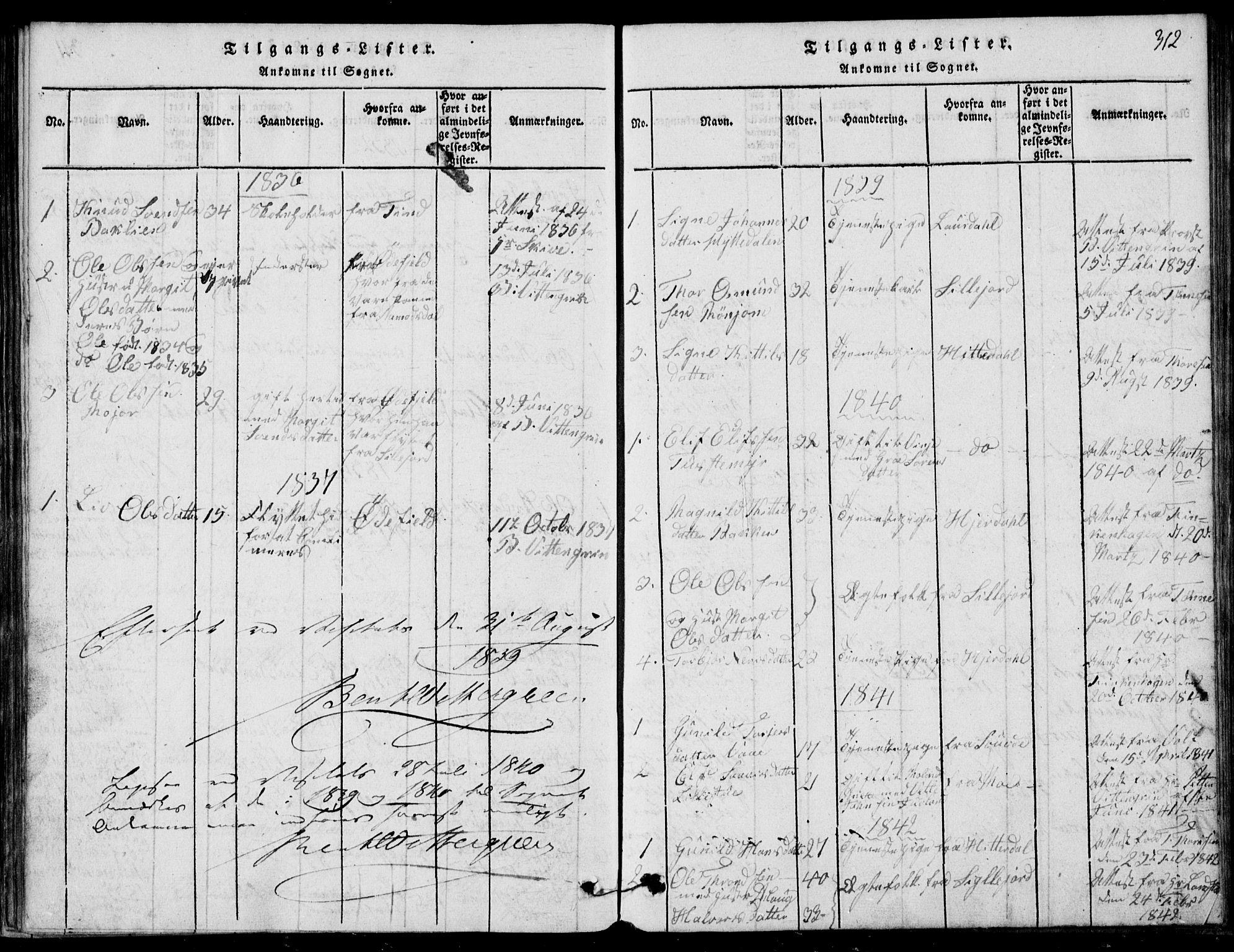 SAKO, Rauland kirkebøker, G/Ga/L0001: Klokkerbok nr. I 1, 1814-1843, s. 312