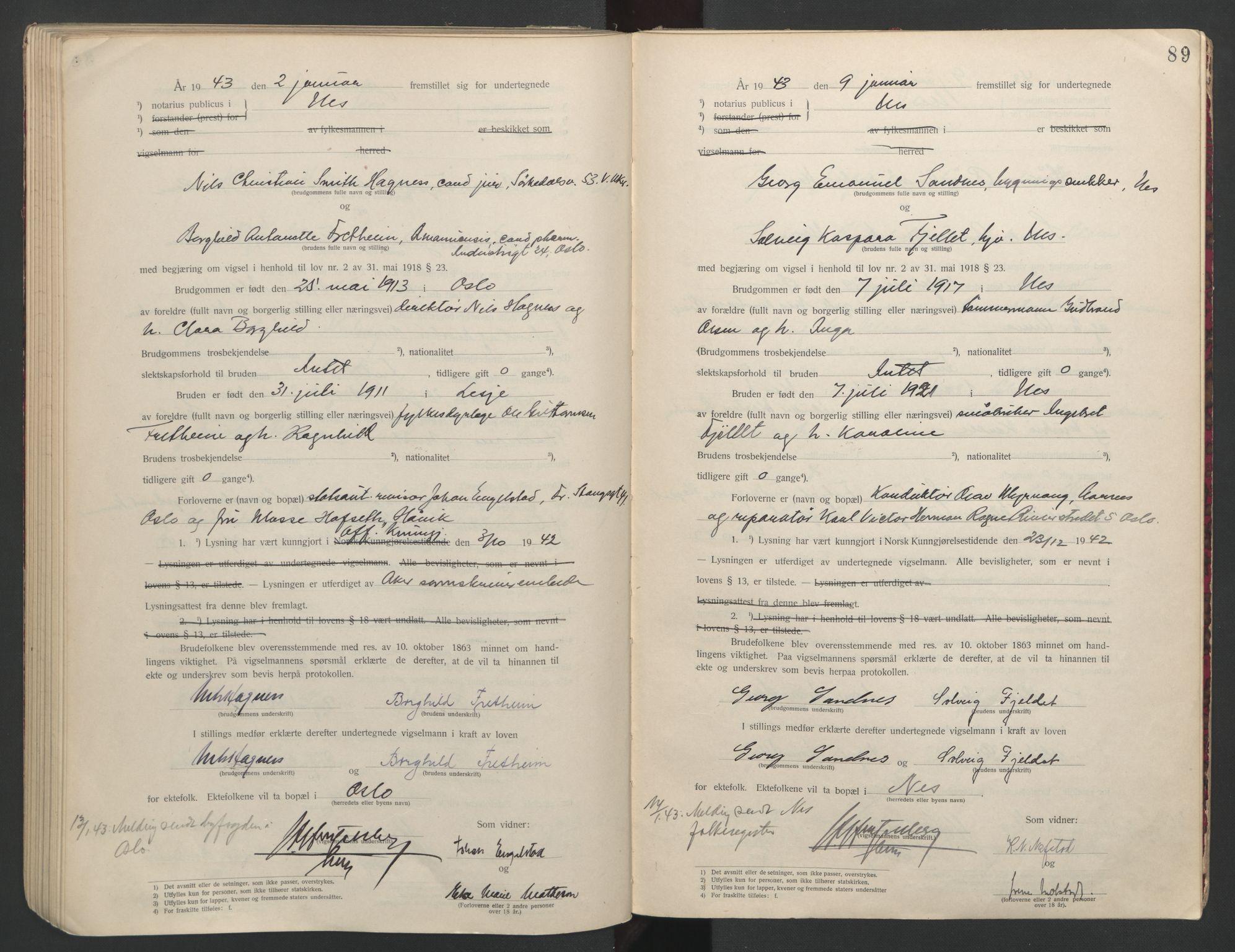 SAO, Nes tingrett, L/Lc/Lca/L0001: Vigselbok, 1920-1943, s. 89
