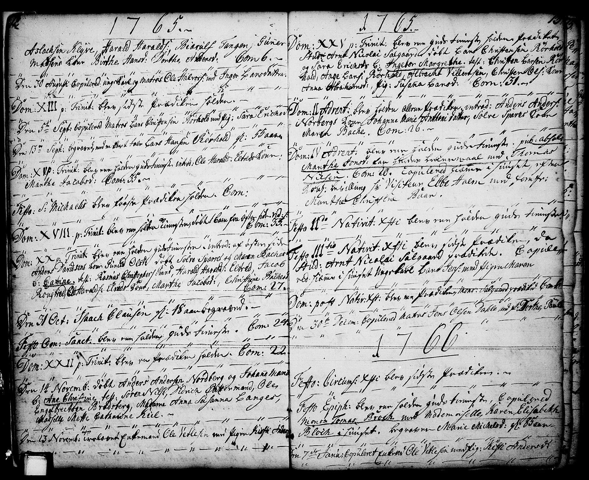 SAKO, Porsgrunn kirkebøker , F/Fa/L0001: Ministerialbok nr. 1, 1764-1814, s. 12-13