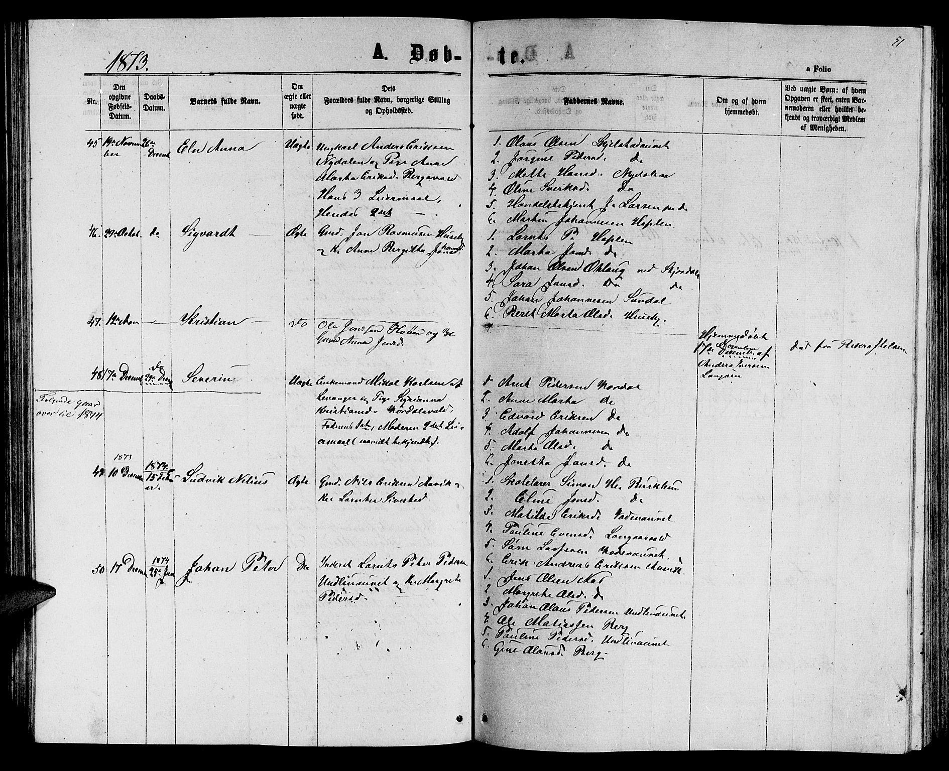 SAT, Ministerialprotokoller, klokkerbøker og fødselsregistre - Nord-Trøndelag, 714/L0133: Klokkerbok nr. 714C02, 1865-1877, s. 51