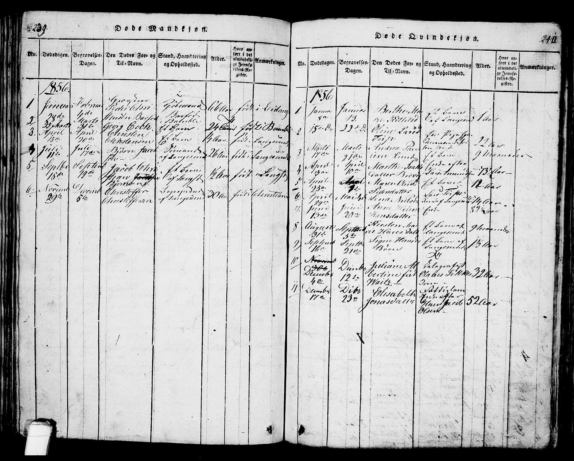 SAKO, Langesund kirkebøker, G/Ga/L0003: Klokkerbok nr. 3, 1815-1858, s. 239-240