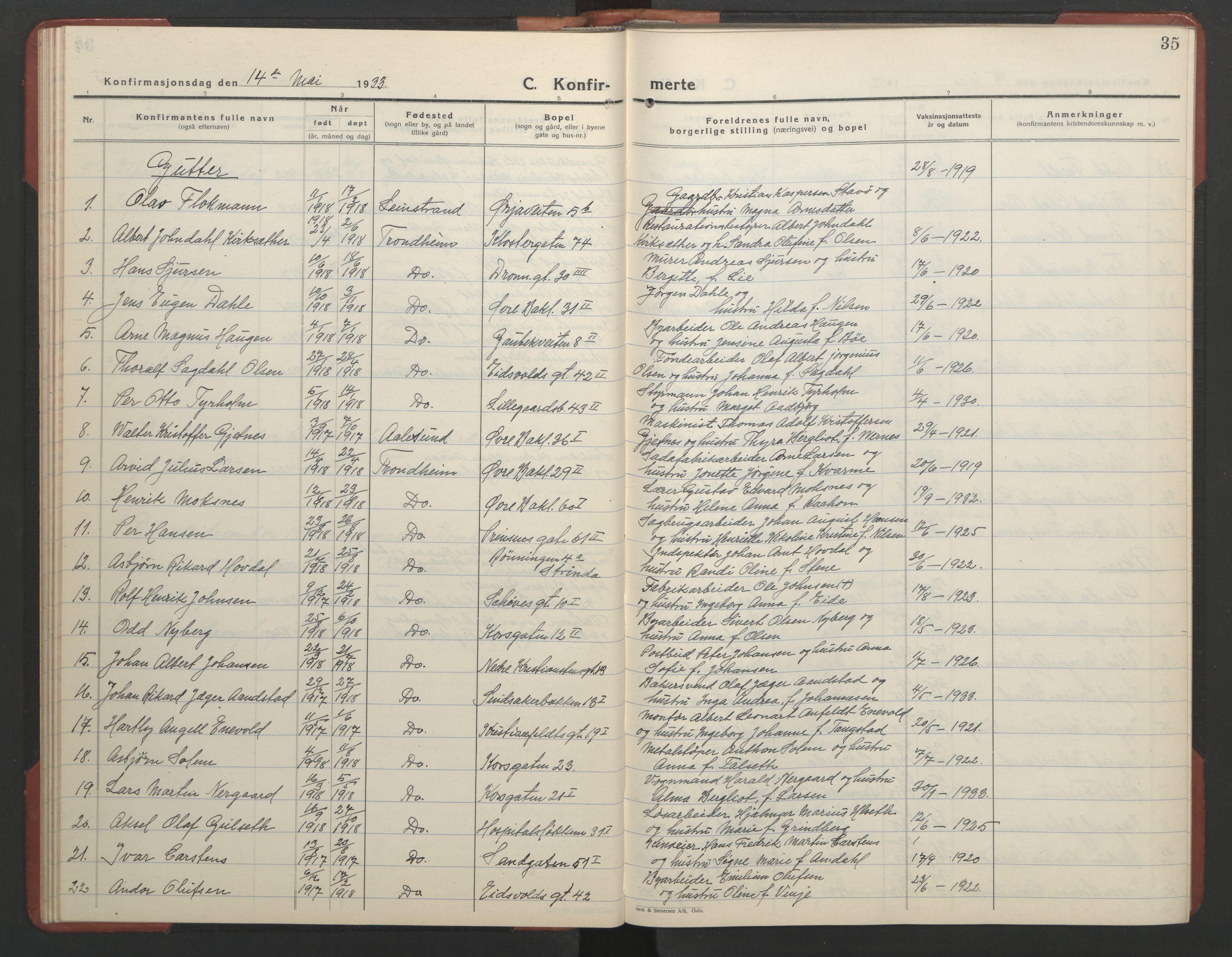 SAT, Ministerialprotokoller, klokkerbøker og fødselsregistre - Sør-Trøndelag, 602/L0151: Klokkerbok nr. 602C19, 1925-1951, s. 35