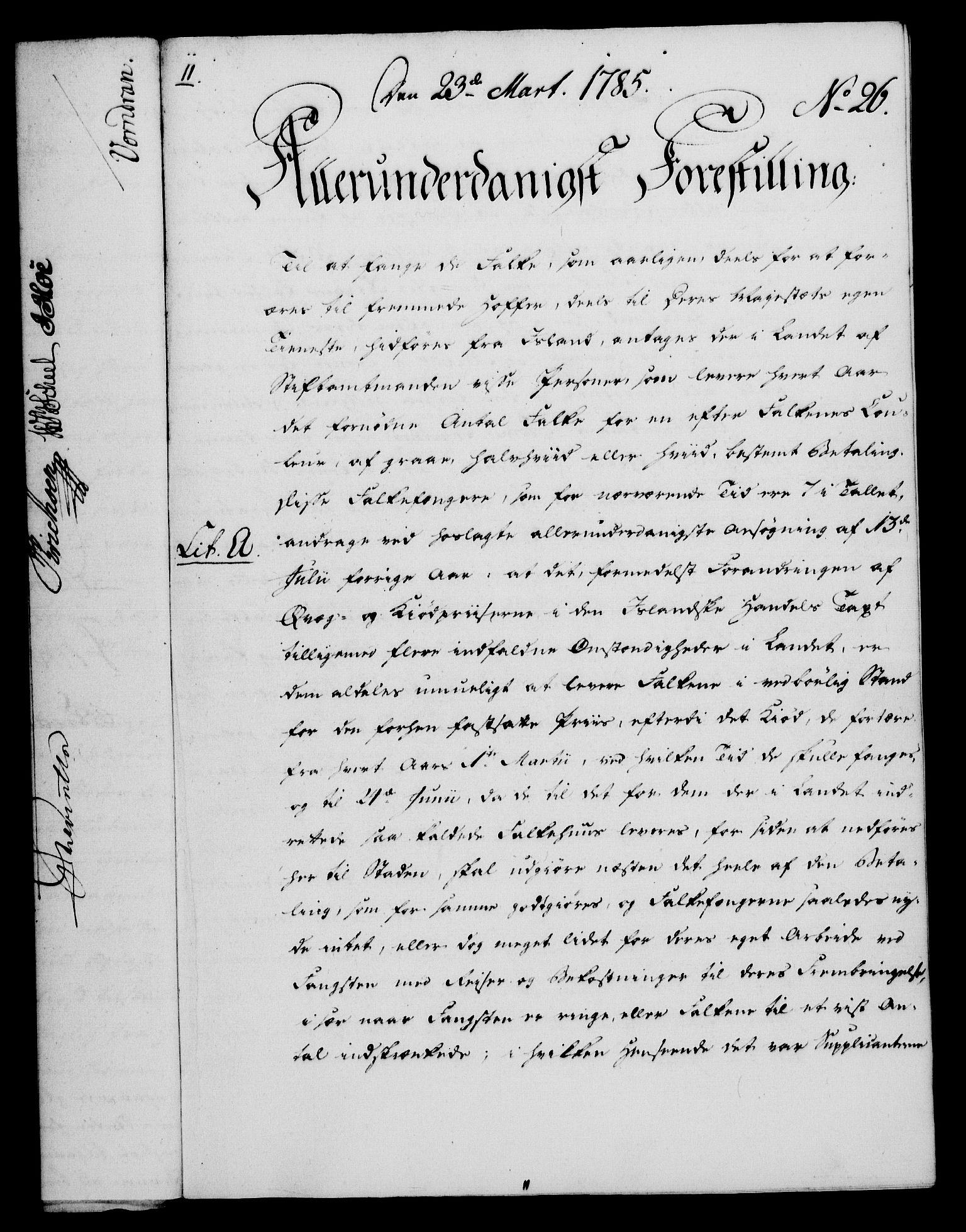 RA, Rentekammeret, Kammerkanselliet, G/Gf/Gfa/L0067: Norsk relasjons- og resolusjonsprotokoll (merket RK 52.67), 1785, s. 228