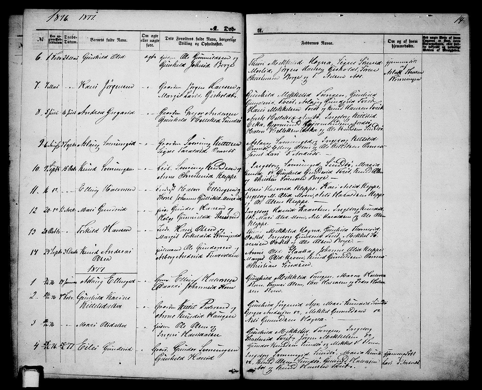 SAKO, Lunde kirkebøker, G/Gb/L0001: Klokkerbok nr. II 1, 1866-1887, s. 14