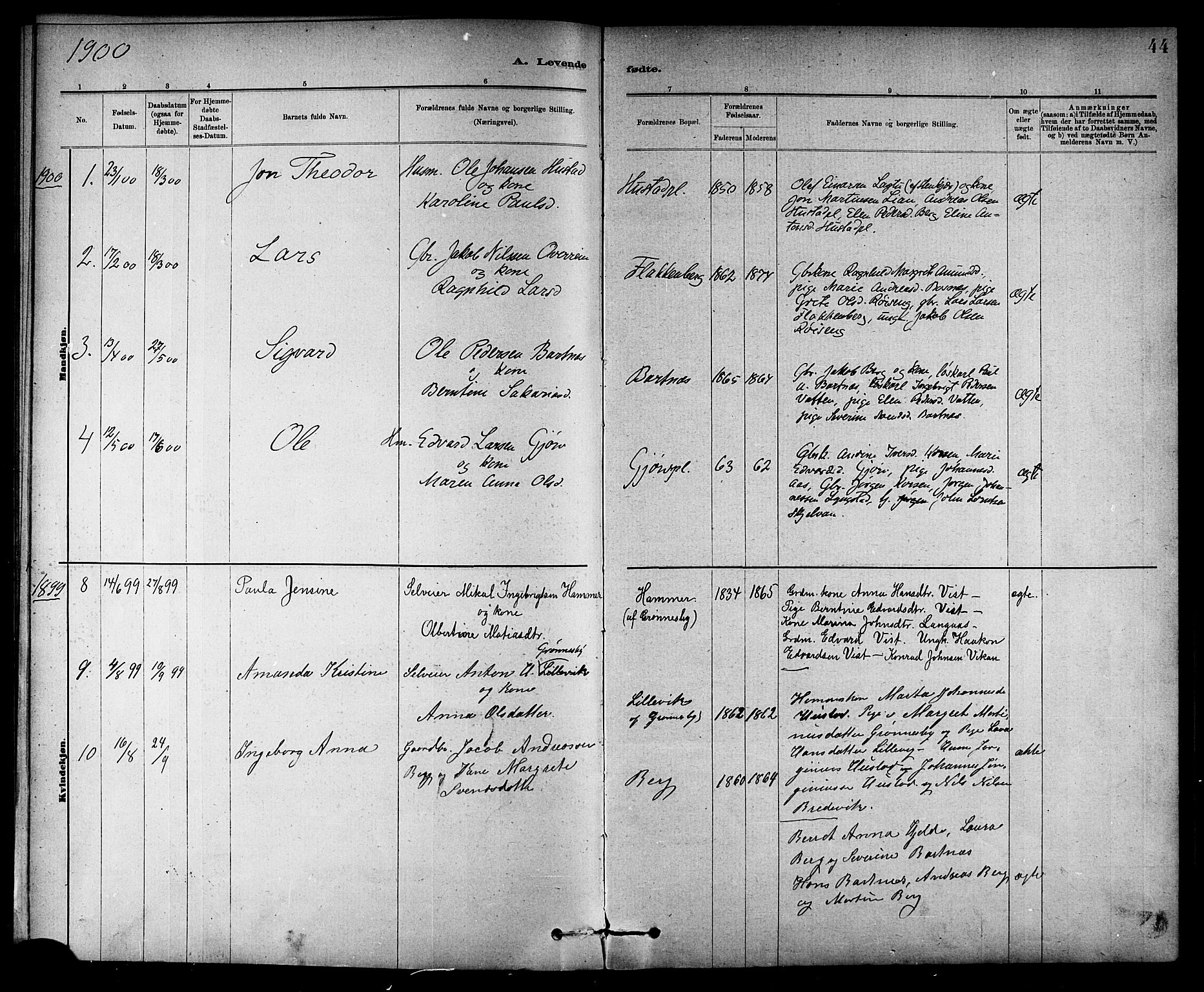 SAT, Ministerialprotokoller, klokkerbøker og fødselsregistre - Nord-Trøndelag, 732/L0318: Klokkerbok nr. 732C02, 1881-1911, s. 44